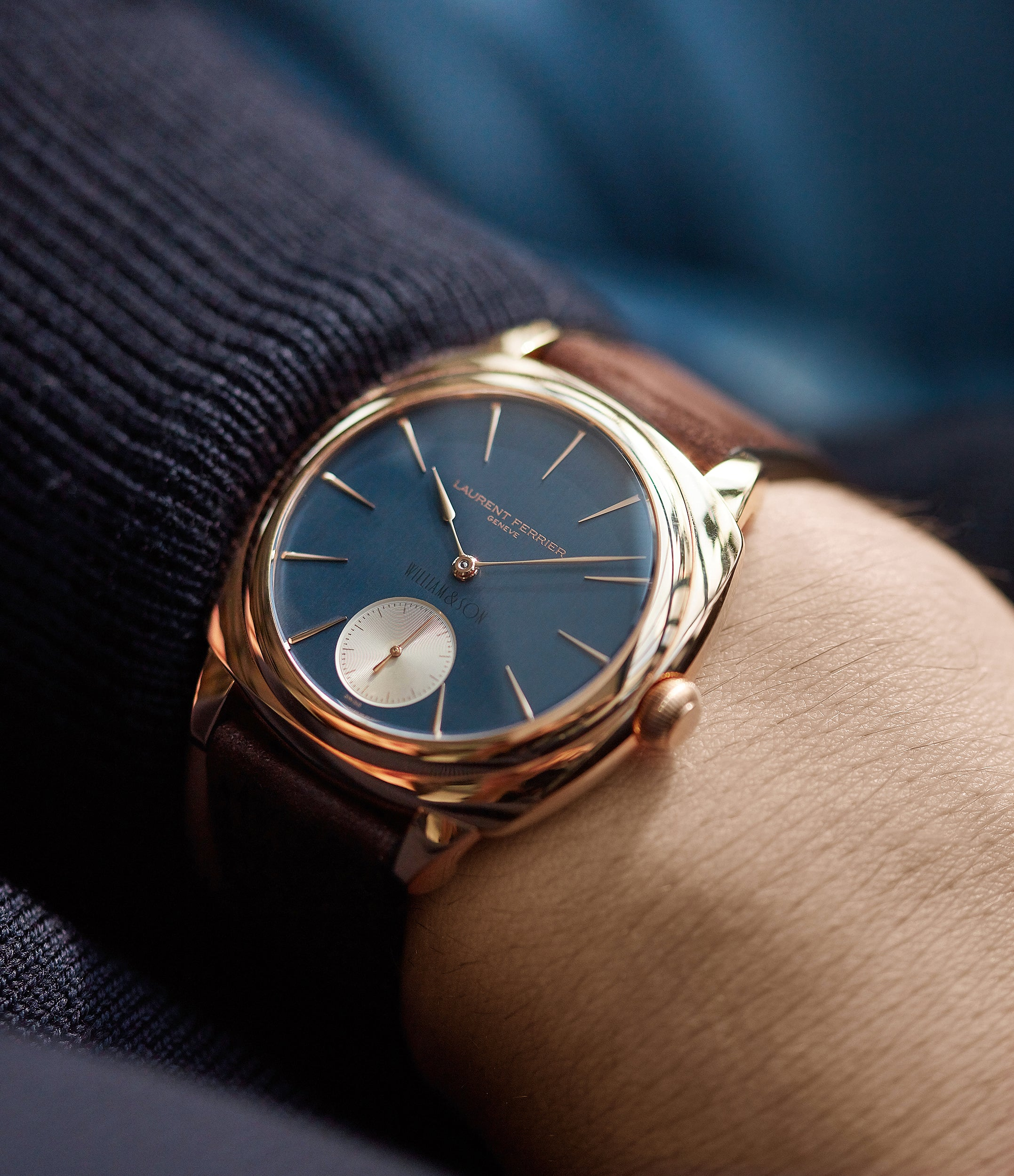 for sale Laurent Ferrier Galet Square Micro-rotor blue dial by  William & Son rose gold rare luxury dress watch for sale online at A Collected Man London UK specialist and approved reseller of rare independent watchmakers
