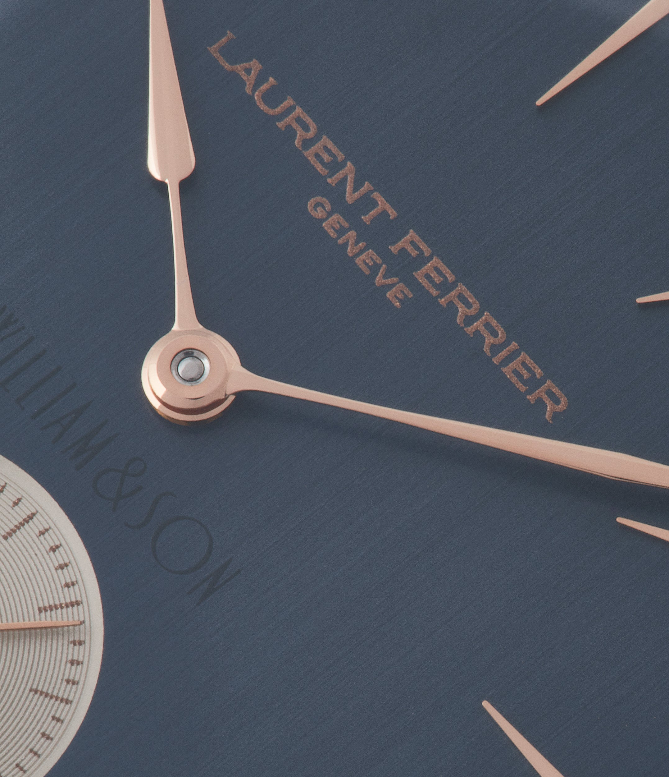 blue dial Laurent Ferrier Galet Square Micro-rotor by  William & Son rose gold rare luxury dress watch for sale online at A Collected Man London UK specialist and approved reseller of rare independent watchmakers