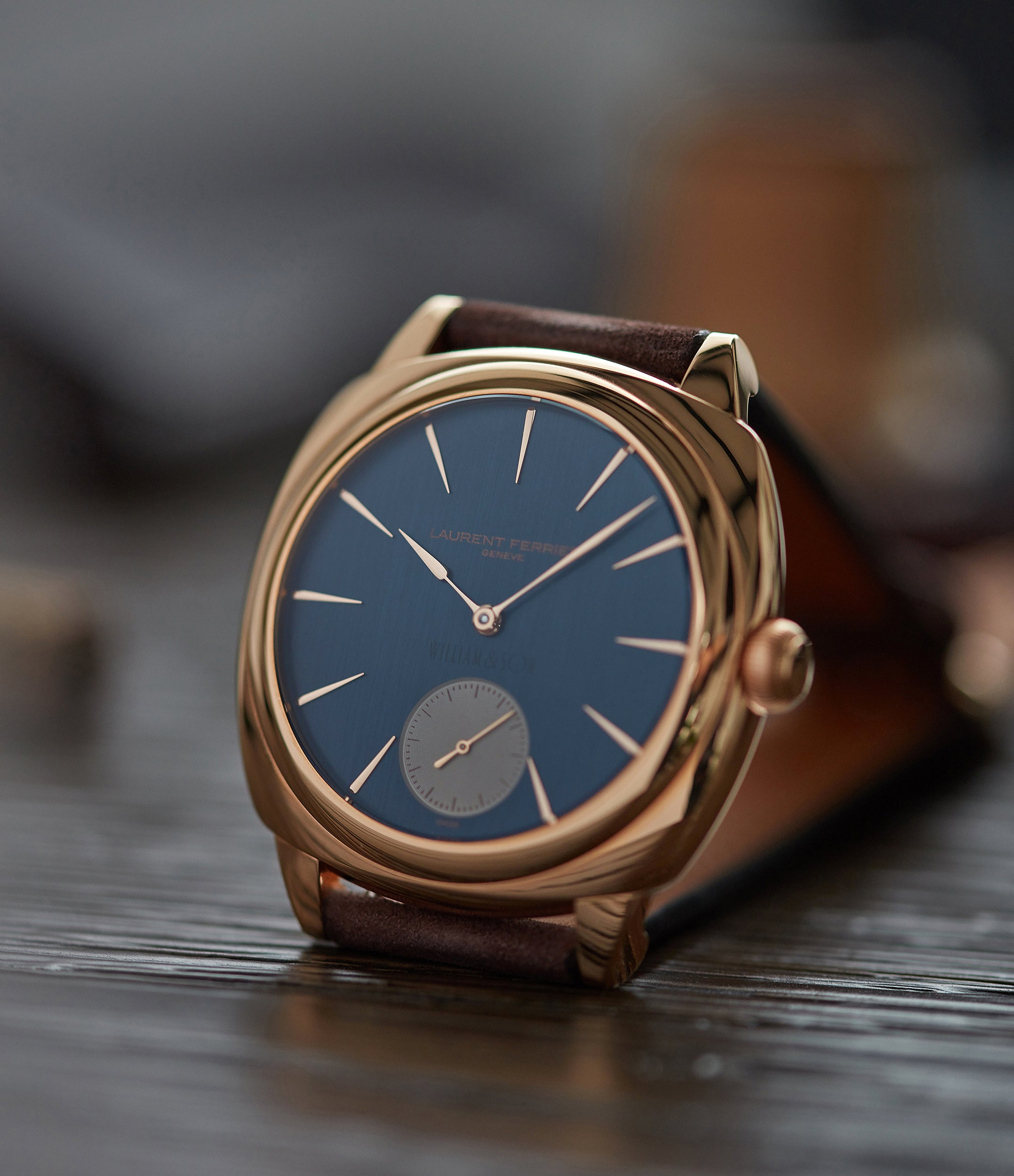 William & Son Laurent Ferrier Galet Square Micro-rotor blue dial rose gold rare luxury dress watch for sale online at A Collected Man London UK specialist and approved reseller of rare independent watchmakers
