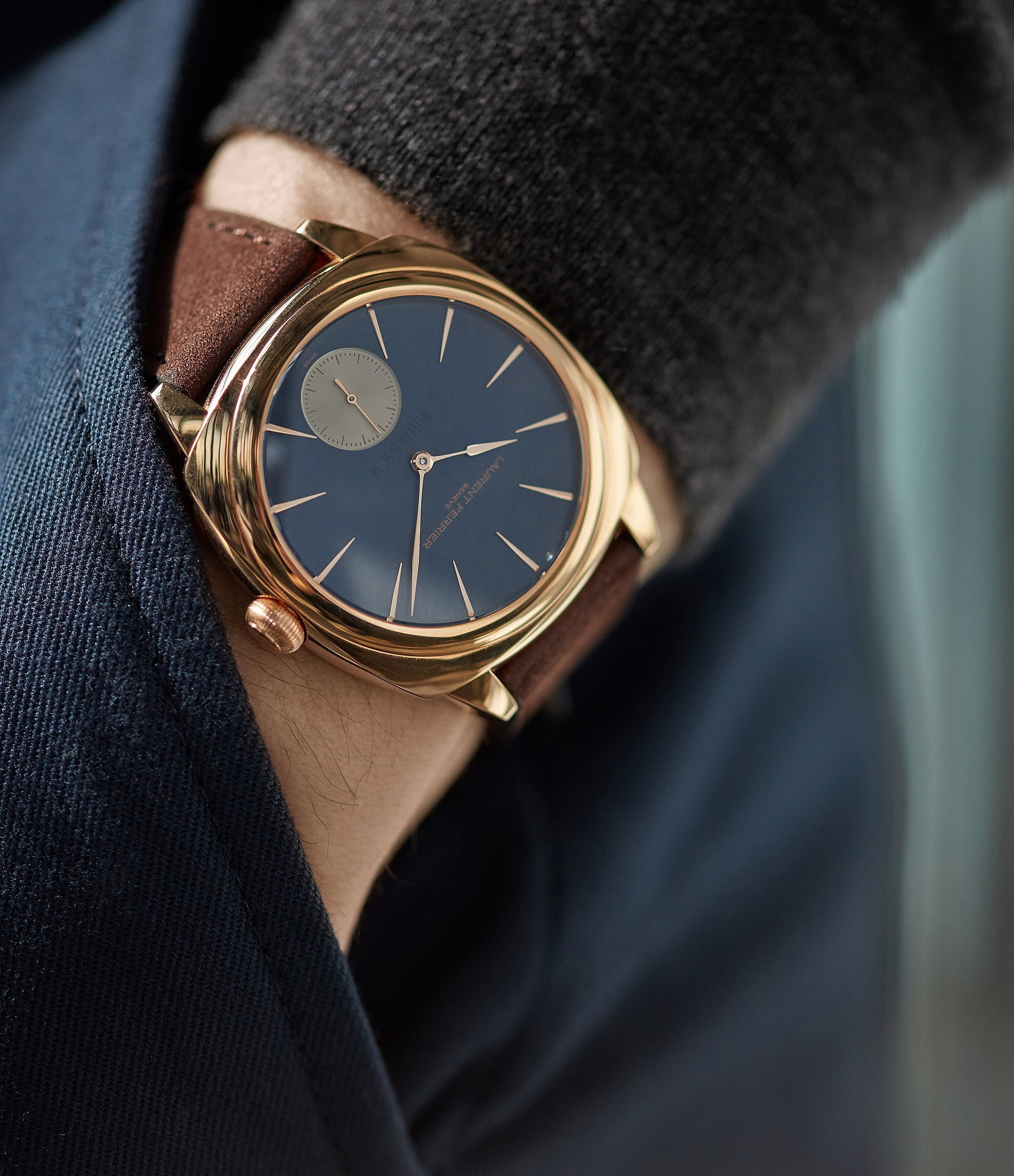 sell Laurent Ferrier Galet Square Micro-rotor blue dial by  William & Son rose gold rare luxury dress watch for sale online at A Collected Man London UK specialist and approved reseller of rare independent watchmakers