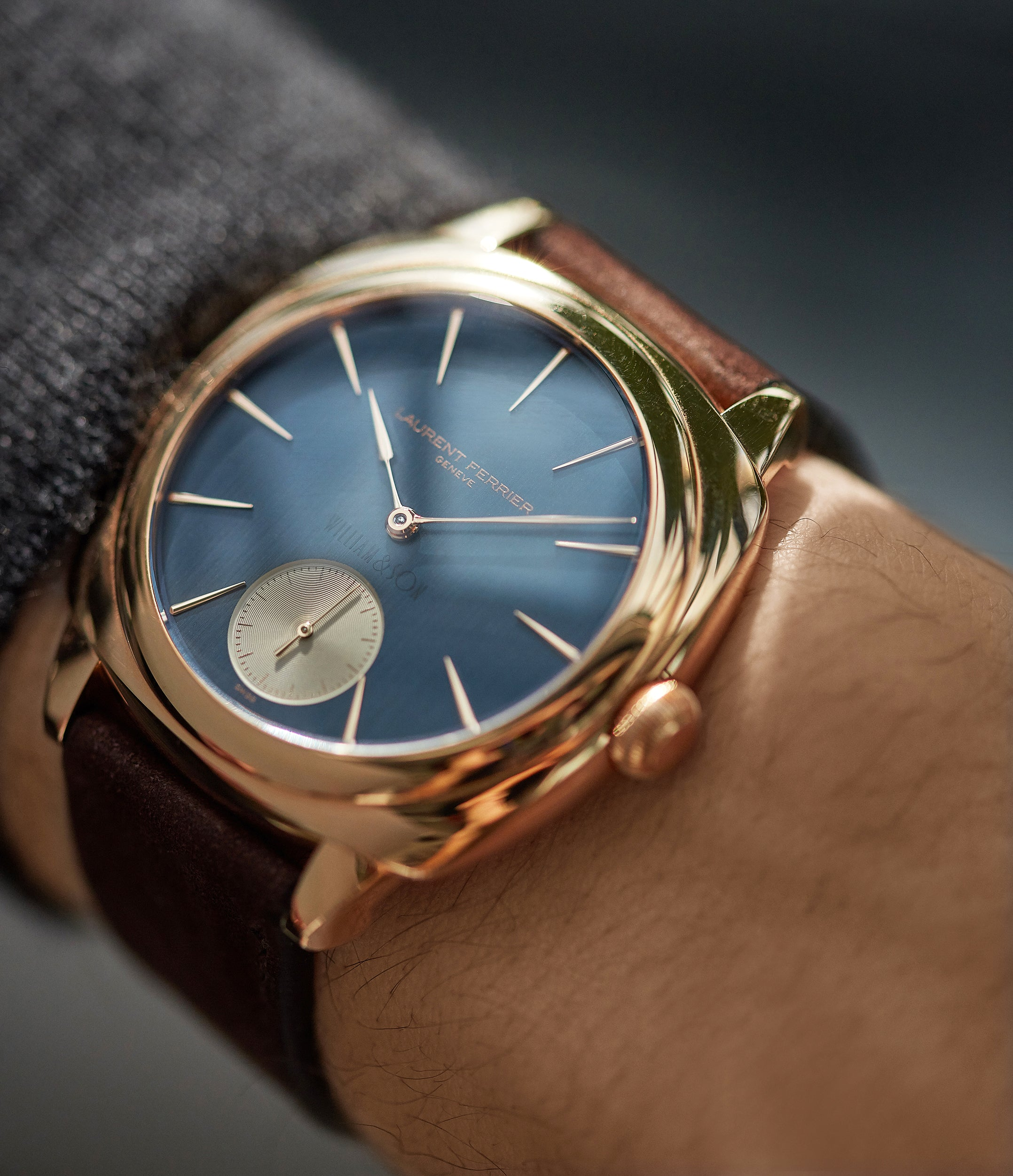 buy Laurent Ferrier Galet Square Micro-rotor blue dial by  William & Son rose gold rare luxury dress watch for sale online at A Collected Man London UK specialist and approved reseller of rare independent watchmakers