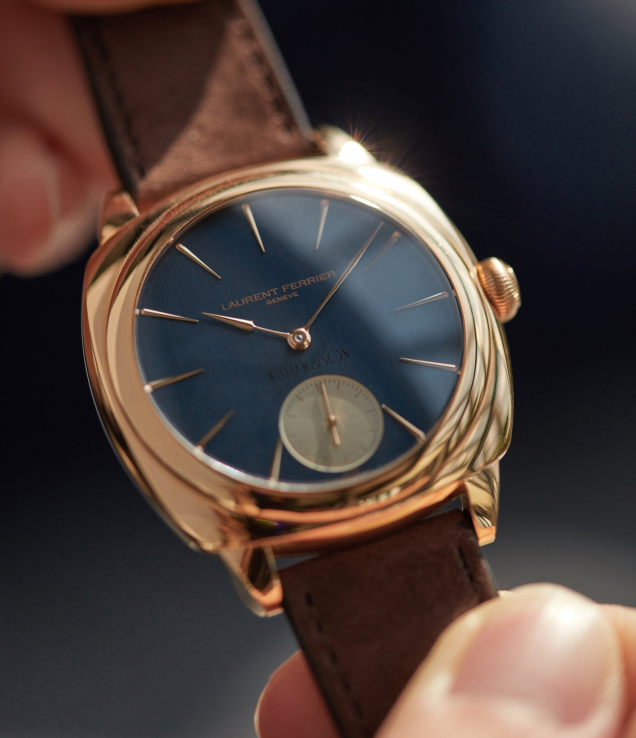 selling Laurent Ferrier Galet Square Micro-rotor blue dial by  William & Son rose gold rare luxury dress watch for sale online at A Collected Man London UK specialist and approved reseller of rare independent watchmakers
