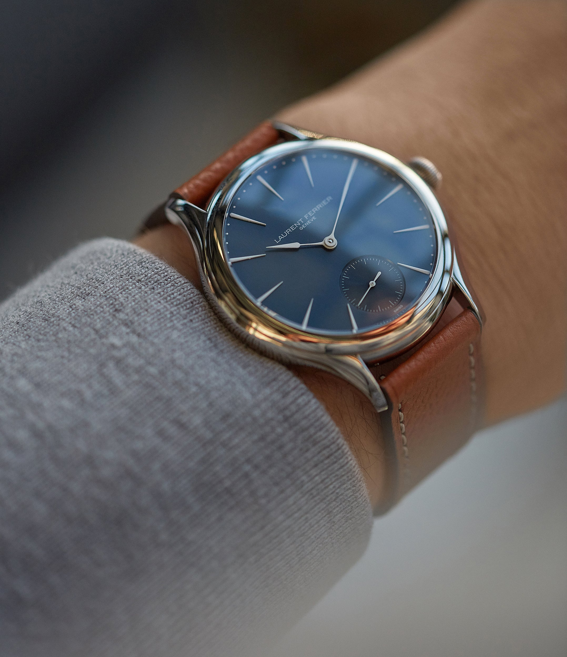 men's luxury dress watch Laurent Ferrier Galet Micro-Rotor LF229.01 blue dial white gold watch for sale online at A Collected Man London UK approved seller of independent watchmaker Laurent Ferrier