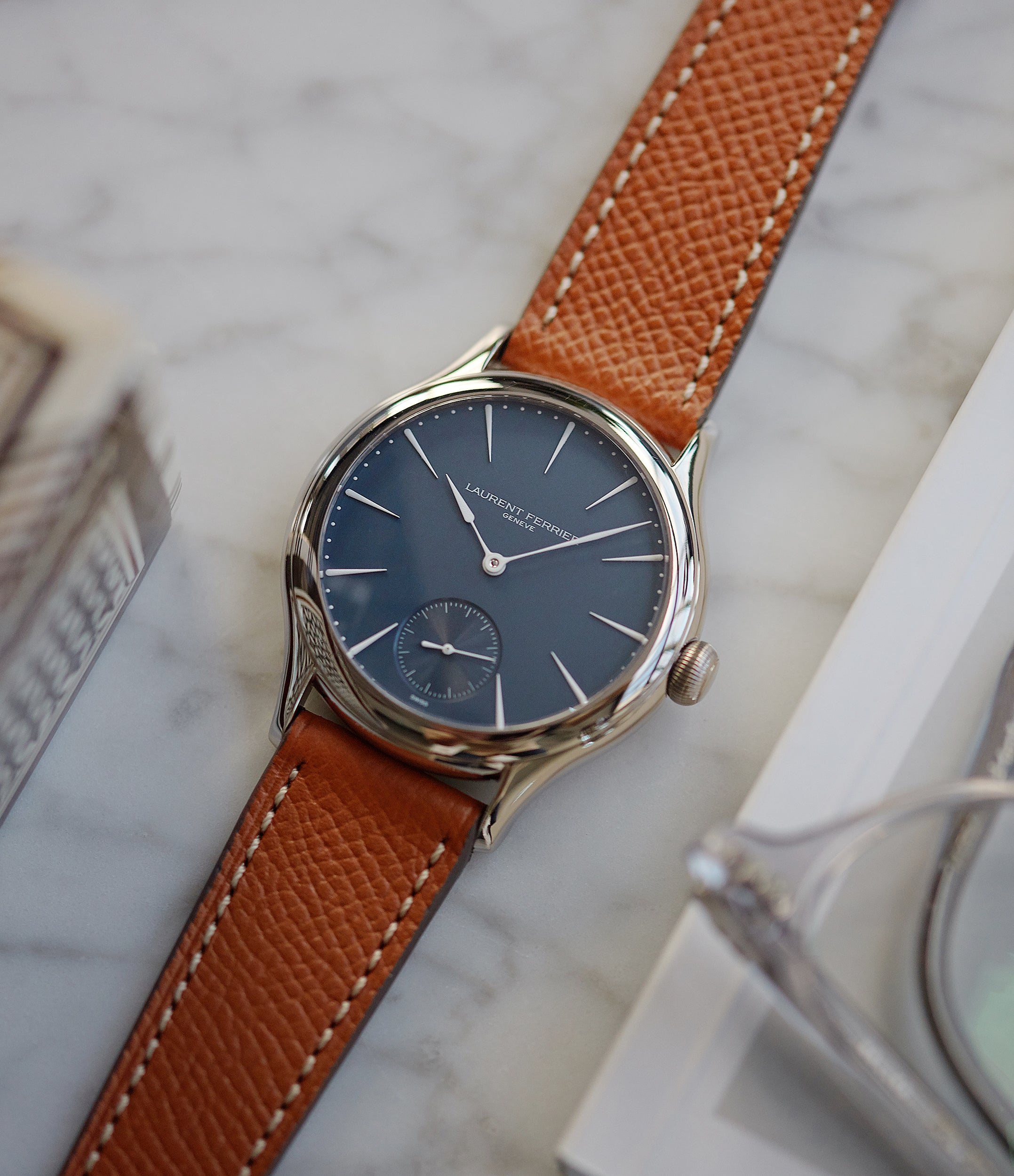 rare Laurent Ferrier Galet Micro-Rotor LF229.01 blue dial white gold watch for sale online at A Collected Man London UK approved seller of independent watchmaker Laurent Ferrier