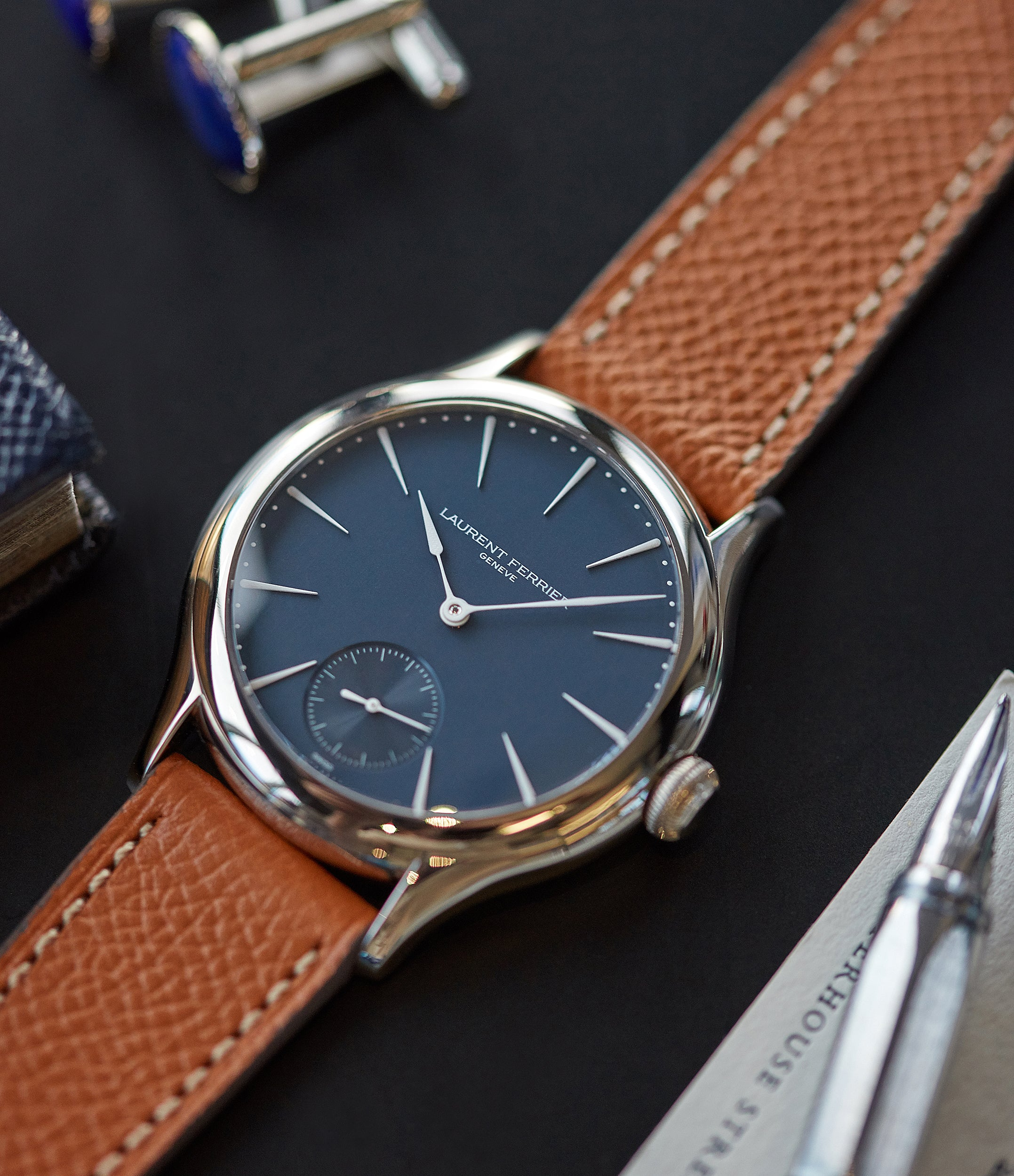 selling Laurent Ferrier Galet Micro-Rotor LF229.01 blue dial white gold watch for sale online at A Collected Man London UK approved seller of independent watchmaker Laurent Ferrier