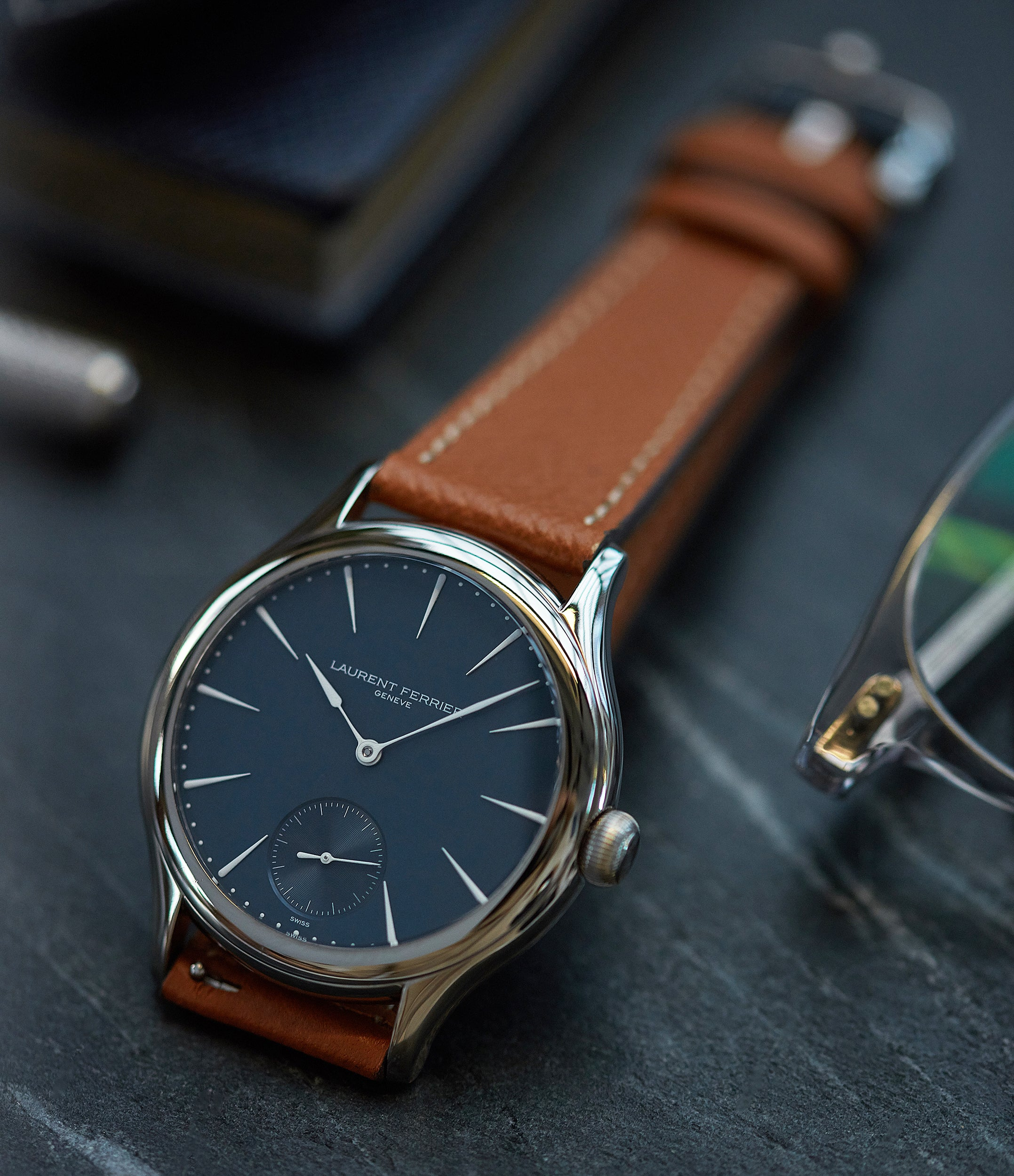 buying Laurent Ferrier Galet Micro-Rotor LF229.01 blue dial white gold watch for sale online at A Collected Man London UK approved seller of independent watchmaker Laurent Ferrier