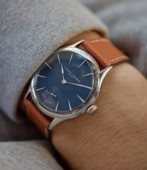 on the wrist Laurent Ferrier Galet Micro-Rotor LF229.01 blue dial white gold watch for sale online at A Collected Man London UK approved seller of independent watchmaker Laurent Ferrier