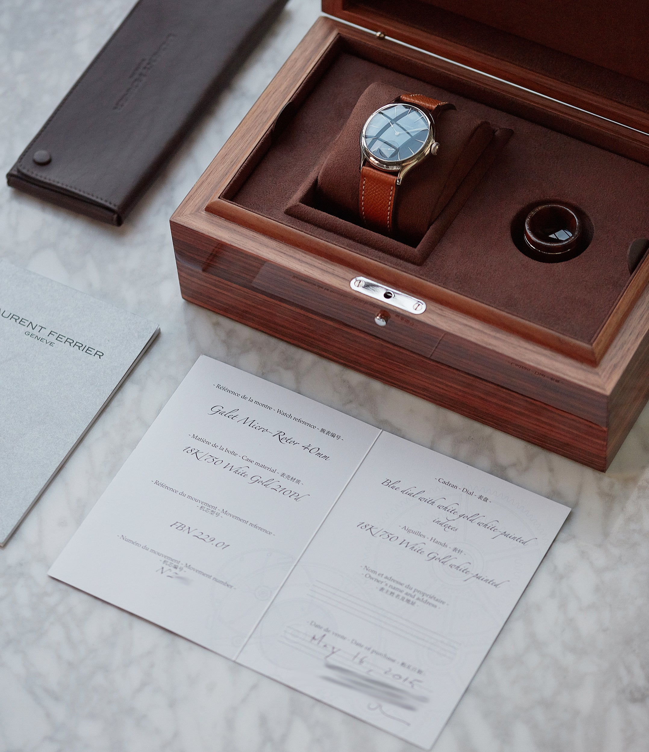 full set Laurent Ferrier Galet Micro-Rotor LF229.01 blue dial white gold watch for sale online at A Collected Man London UK approved seller of independent watchmaker Laurent Ferrier