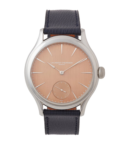 buy Laurent Ferrier Galet Micro-rotor FBN 229.01 steel rare watch with pink salmon red gold dial for sale online at A Collected Man London approved re-seller of independent watchmakers