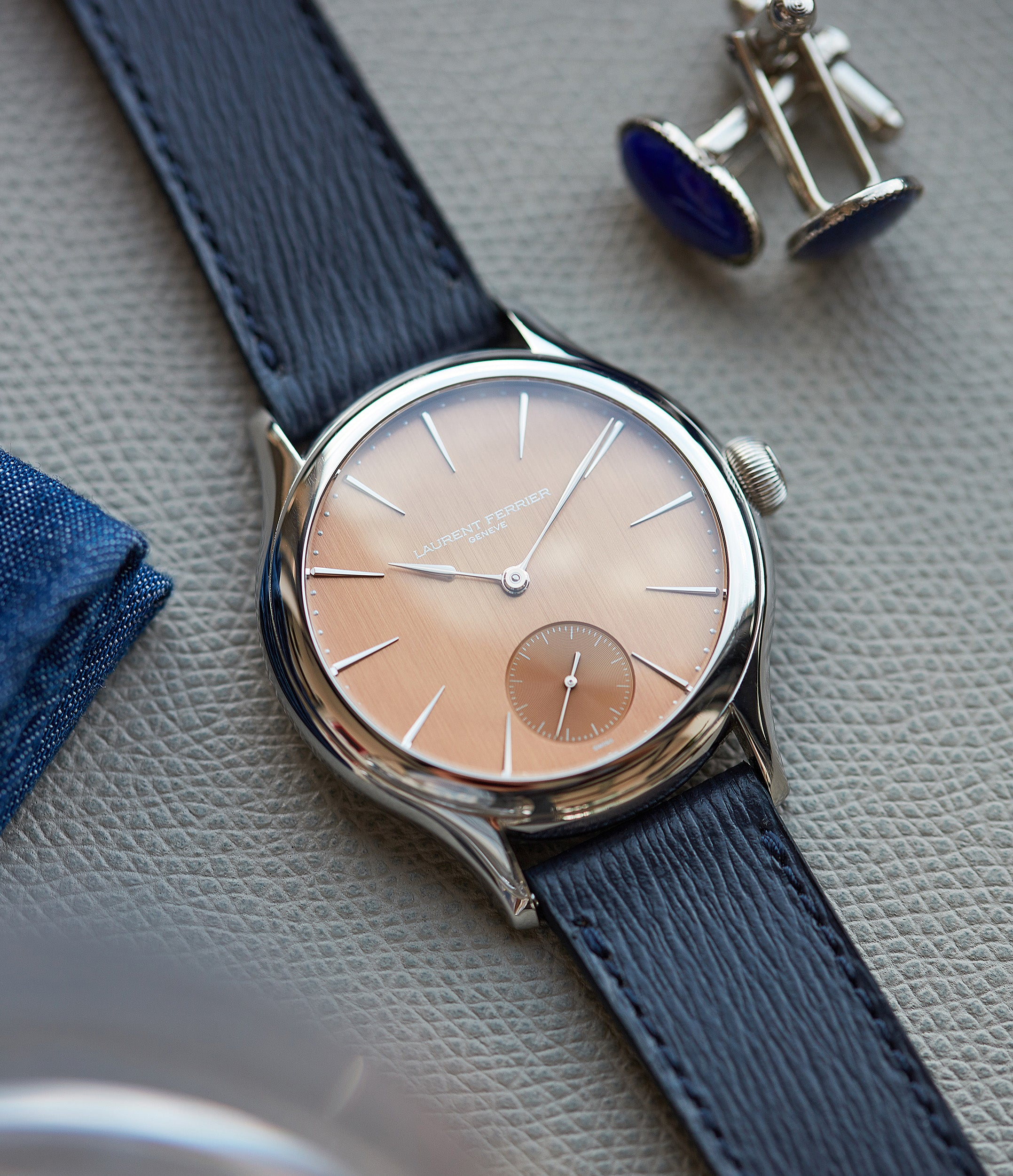 pink dial Laurent Ferrier Galet Micro-rotor FBN 229.01 steel rare watch for sale online at A Collected Man London approved re-seller of independent watchmakers