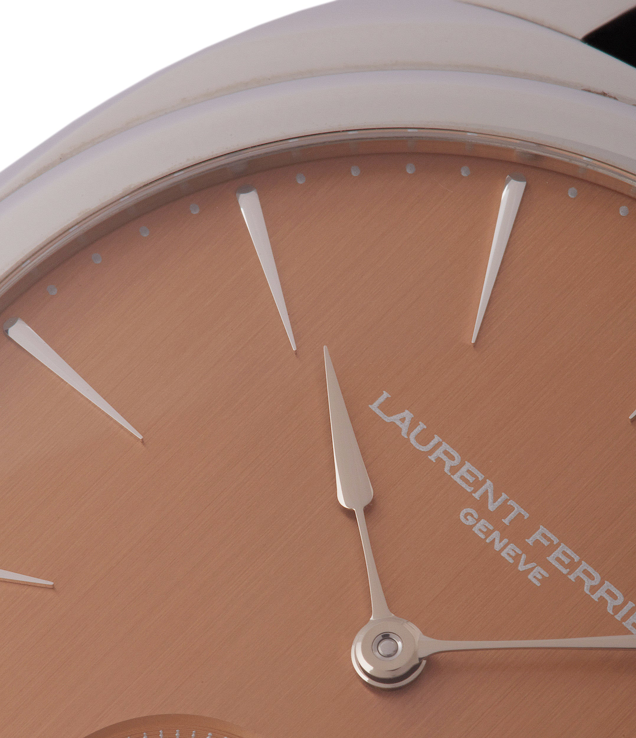 pink dial Laurent Ferrier Galet Square Micro-rotor steel pre-owned watch for sale online at A Collected Man London UK specialist of independent watchmakers
