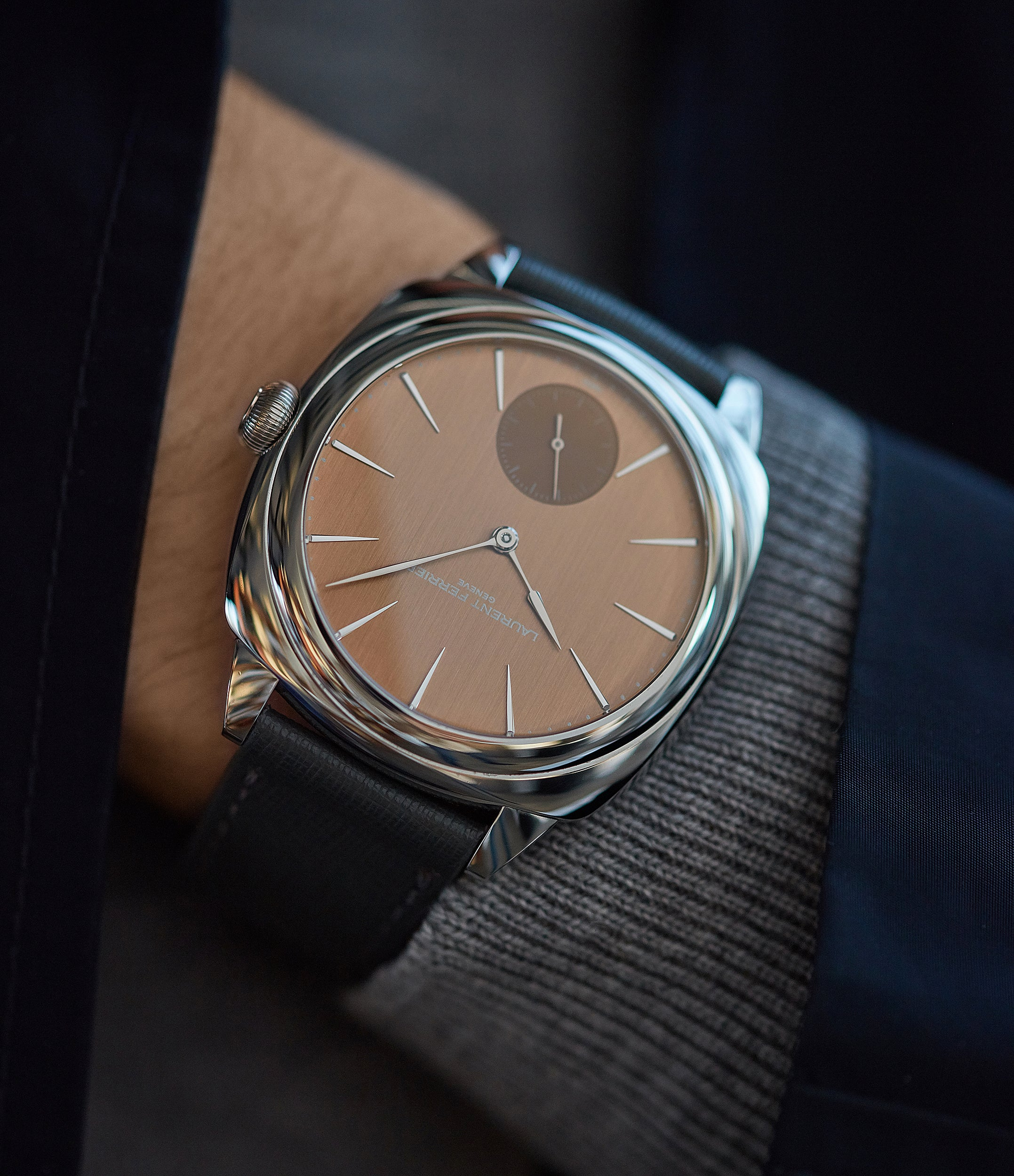 men's dress watch Laurent Ferrier Galet Square Micro-rotor salmon dial steel pre-owned watch for sale online at A Collected Man London UK specialist of independent watchmakers