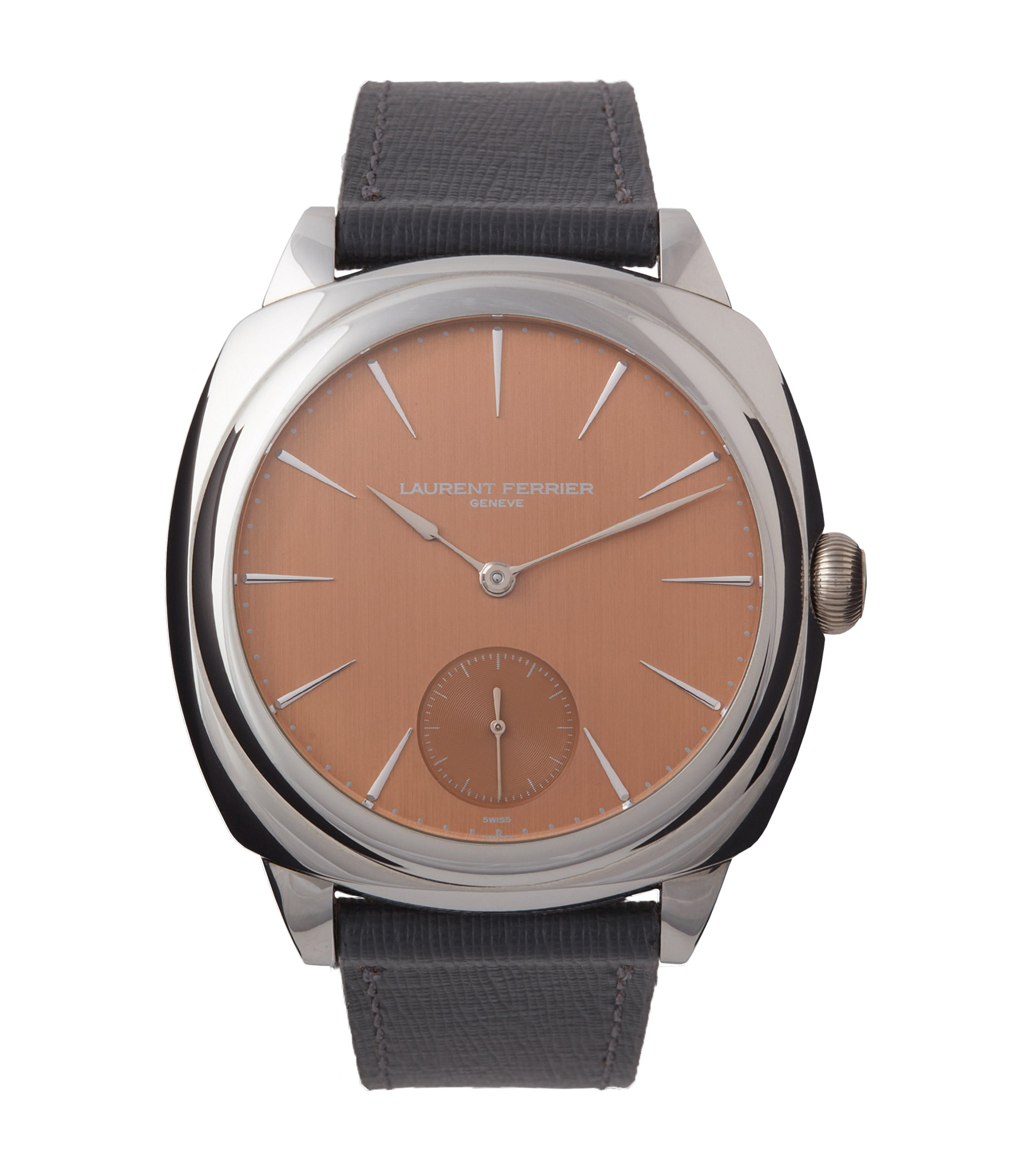 buy Laurent Ferrier Galet Square Micro-rotor salmon dial steel pre-owned watch for sale online at A Collected Man London UK specialist of independent watchmakers