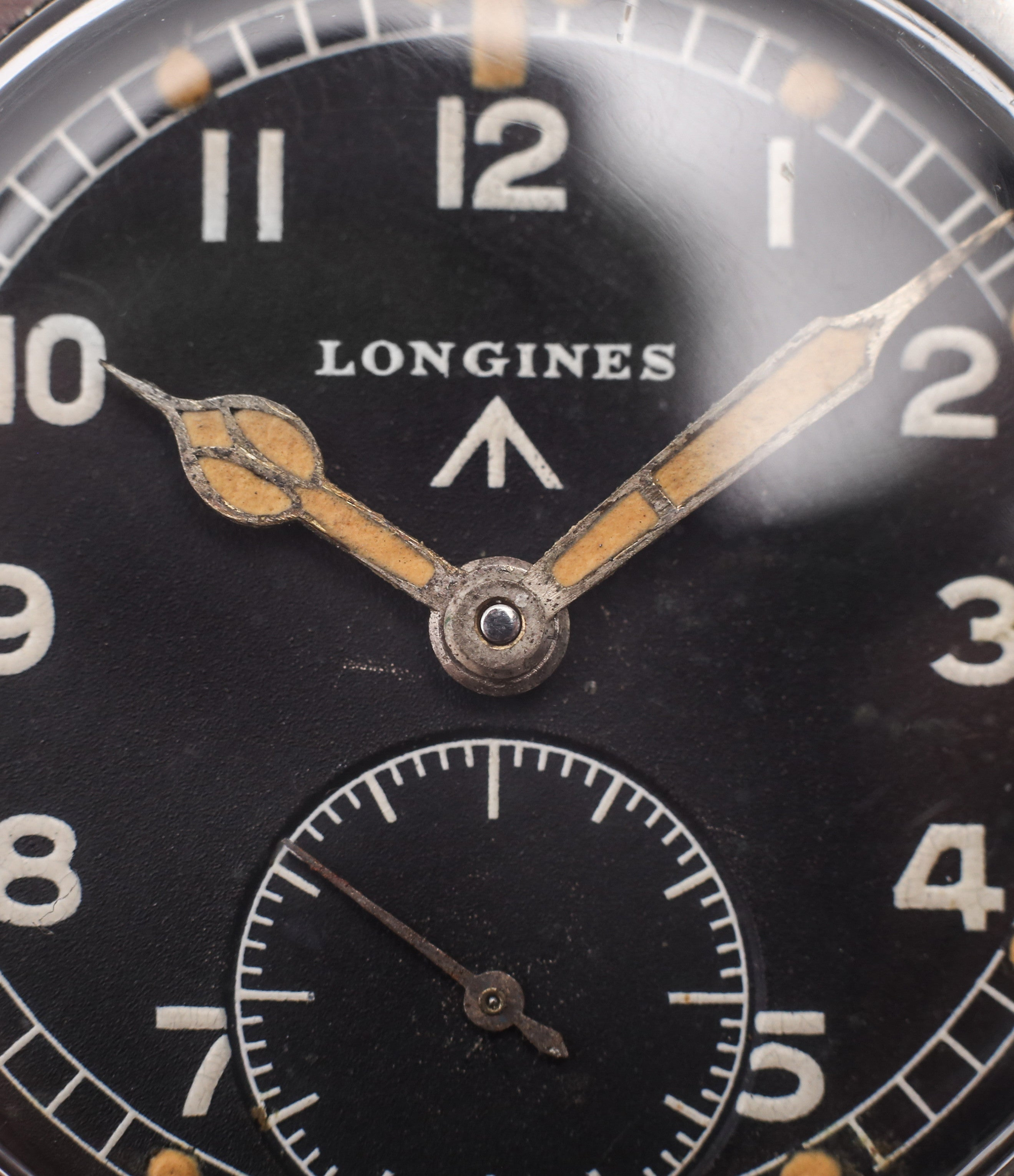 black dial Longines WWW MoD British military vintage watch F6870 for sale online at A Collected Man London vintage watches specialist