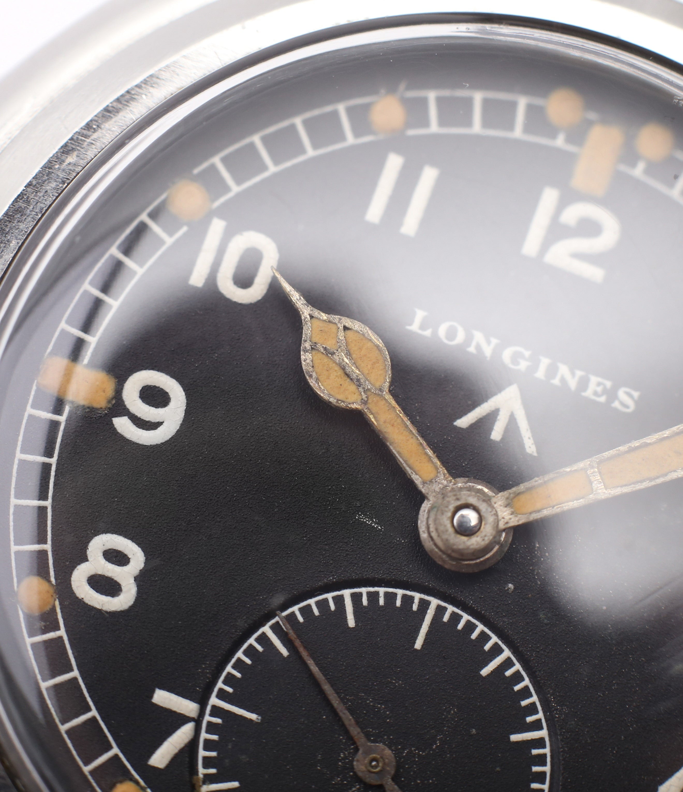 black unrestored dial Longines WWW MoD British military vintage watch F6870 for sale online at A Collected Man London vintage watches specialist