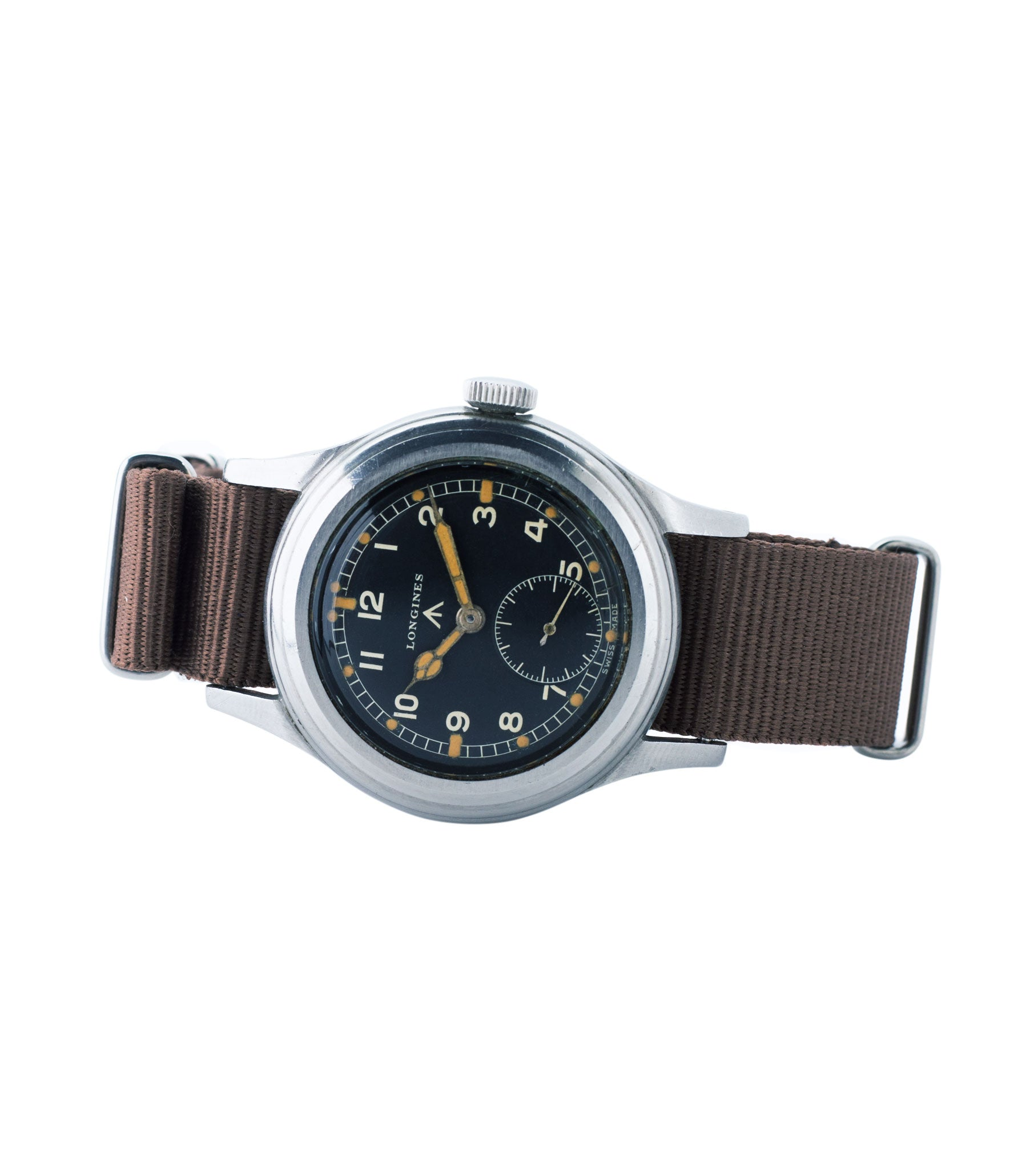 Dirty Dozen W.W.W. Longines British military MoD steel chronometer-graded watch for sale online at A Collected Man London vintage military watch specialist