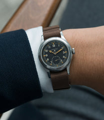 on the wrist Longines W.W.W. Dirty Dozen British military MoD steel chronometer-graded watch for sale online at A Collected Man London vintage military watch specialist