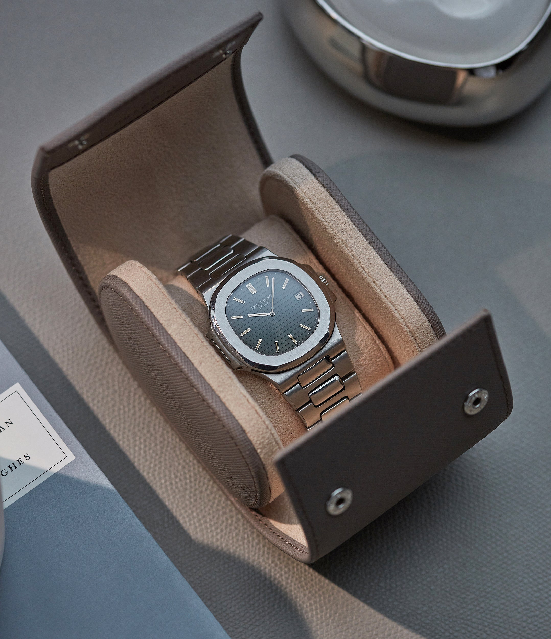 selling luxury light taupe grey Saffiano leather one-watch single watch roll holder Luxembourg Collection at A Collected Man London