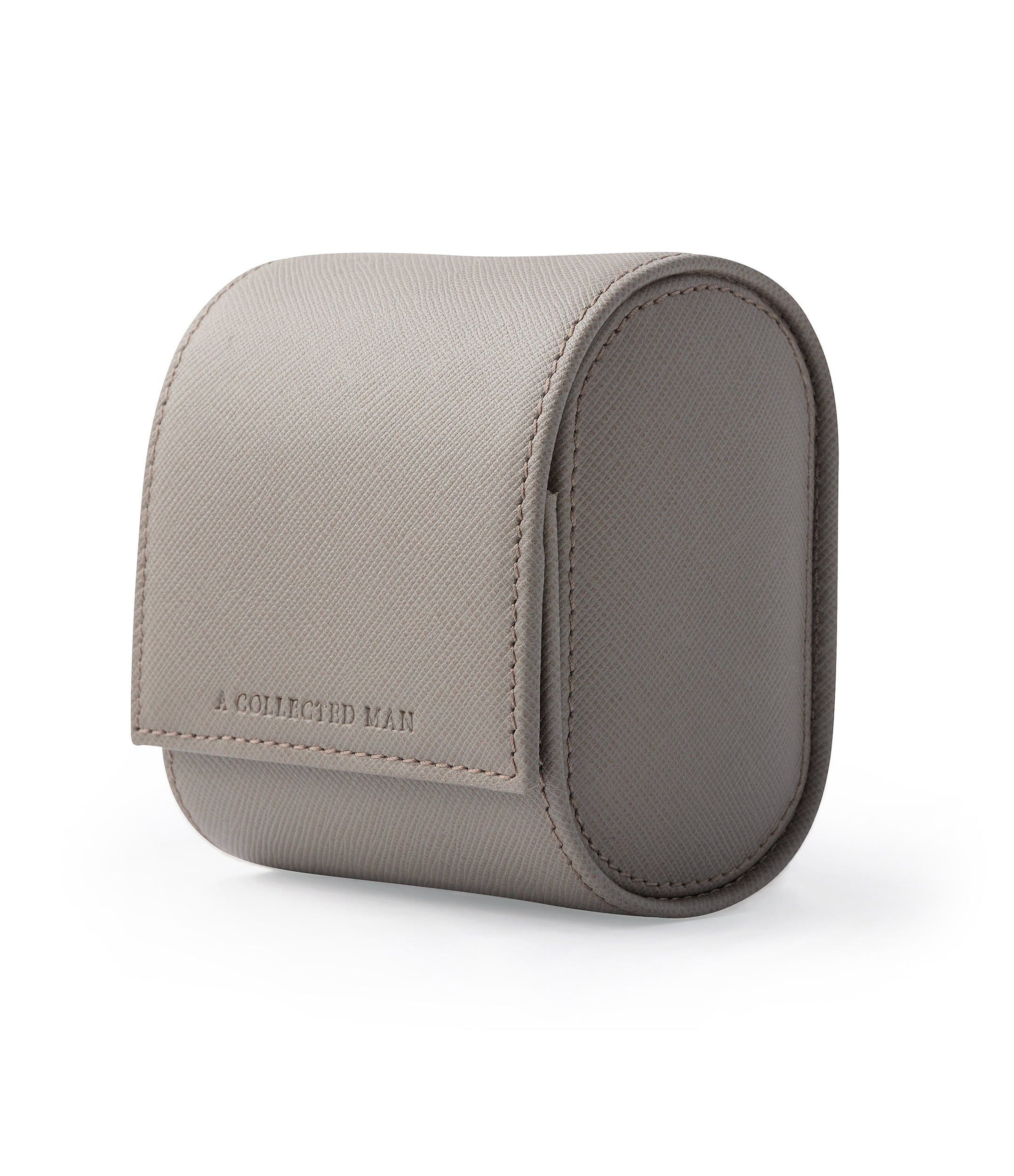 buy luxury light taupe grey Saffiano leather one-watch single watch roll holder Luxembourg Collection at A Collected Man London