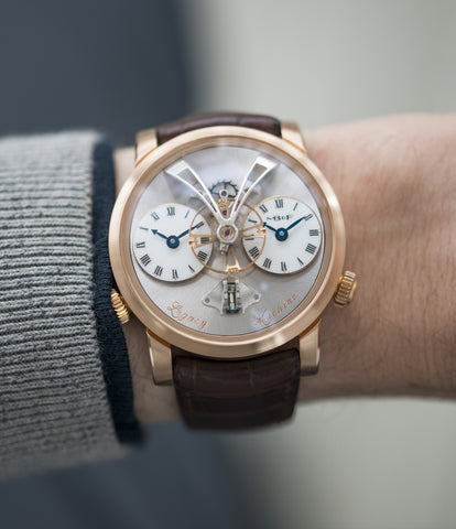 on the wrist MB&F Voutilainen& Mojon LM1 Legacy Machine No. 1 rose gold time-only rare traveller watch from independent watchmaker for sale online at A Collected Man London UK specialist of independent watchmakers