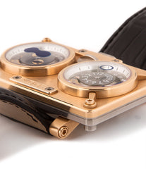 MB&F Horological Machine 2 20.DRRTL.R 18-carat rose gold automatic Cal. Sowind base authentic pre-owned rare luxury watch from  with black dial and brown stitched alligator strap with moonphase, date, jumping hour, center seconds