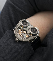 rare men's wristwatch MB&F HM3 Horological Machine 3 Sidewinder Max Busser Wiederrecht white gold watch by independent watchmaker for sale online at A Collected Man London UK specialist of rare watches