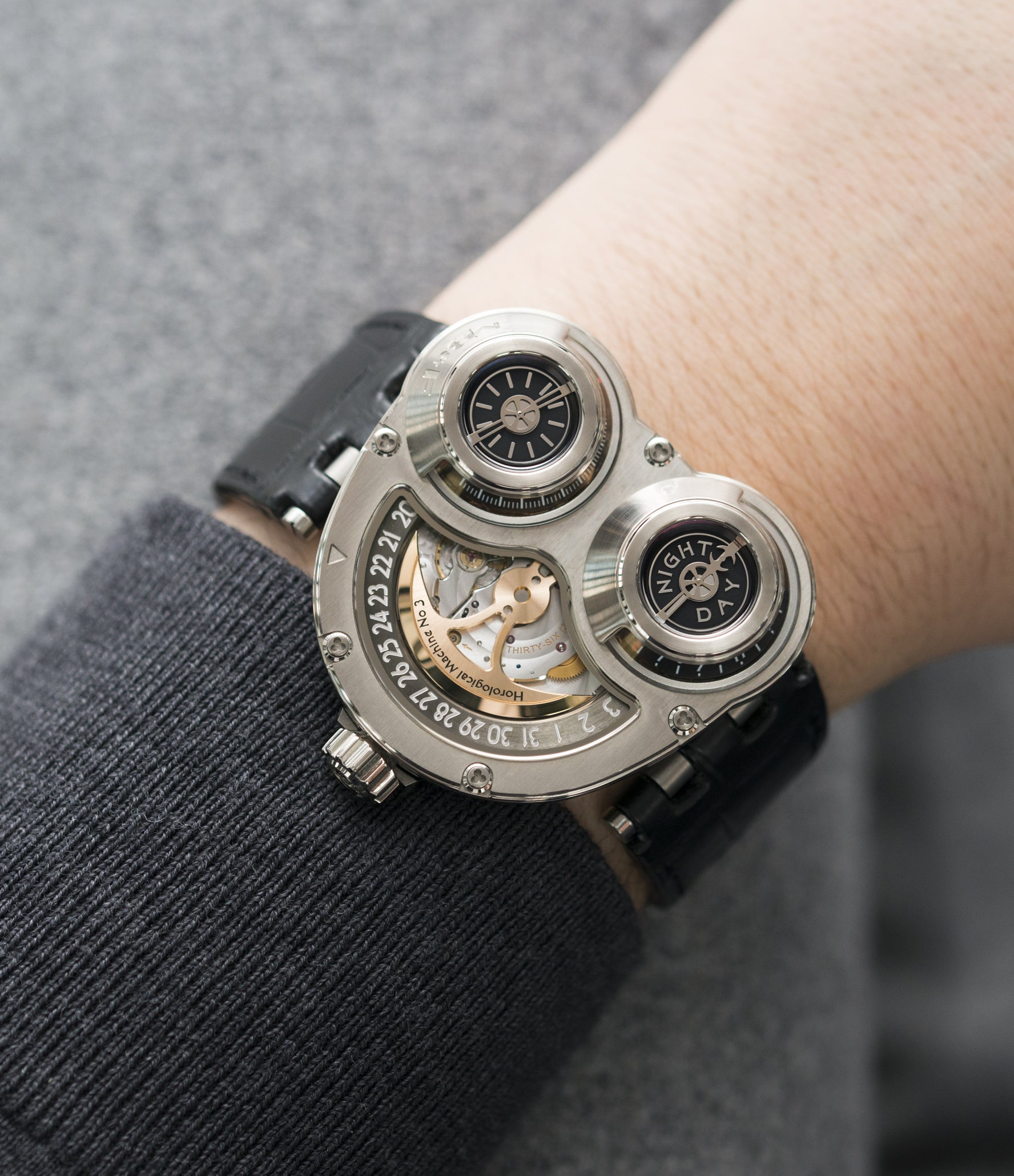 on the wrist MB&F Sidewinder Horological Machine HM3 white gold watch by independent watchmaker Max Busser Wiederrecht for sale online at A Collected Man London UK specialist of rare watches