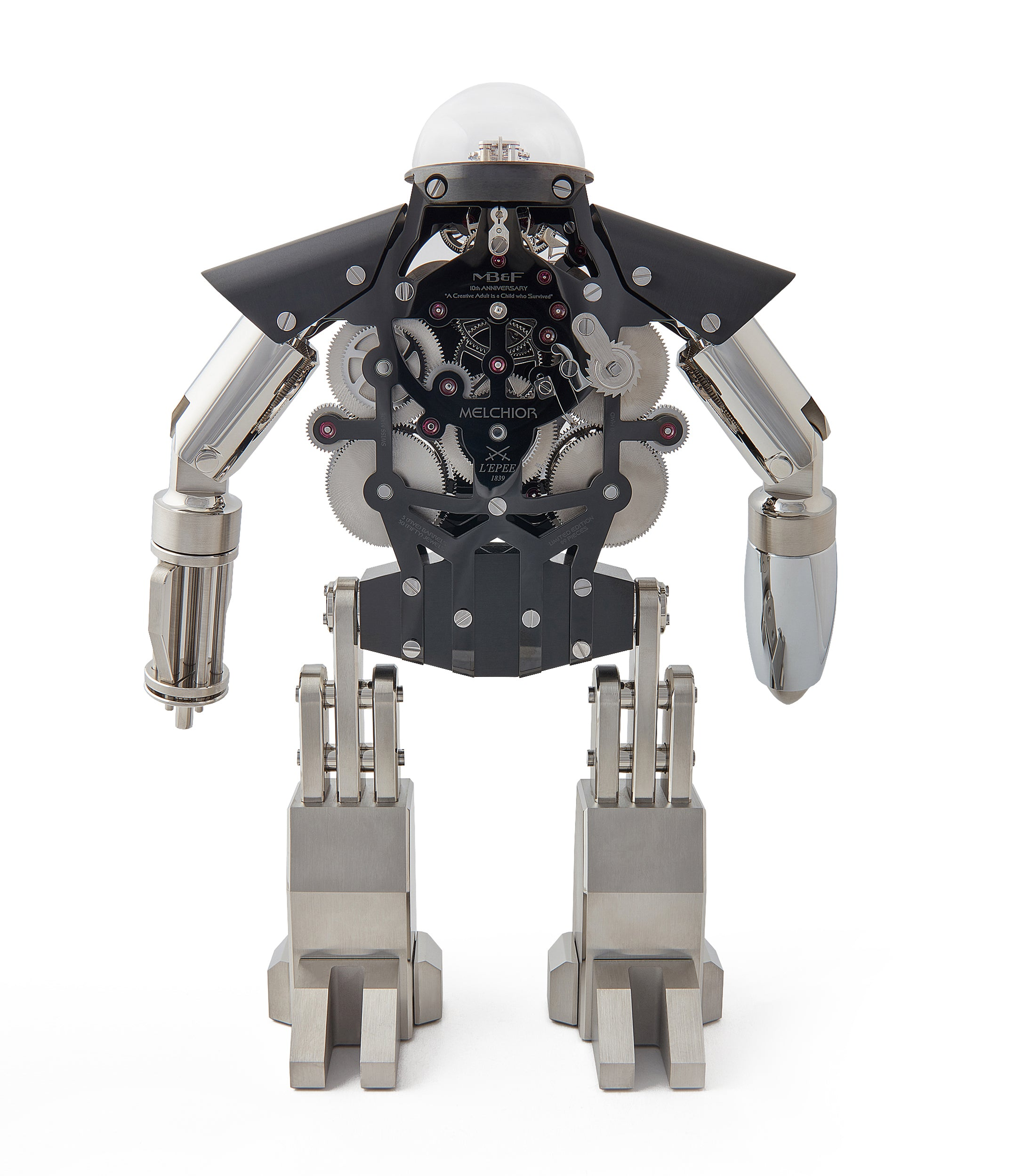 "Melchior MB&F X L'Epee ""Dark"" roboclock robotic desk clock for sale online at A Collected Man London"