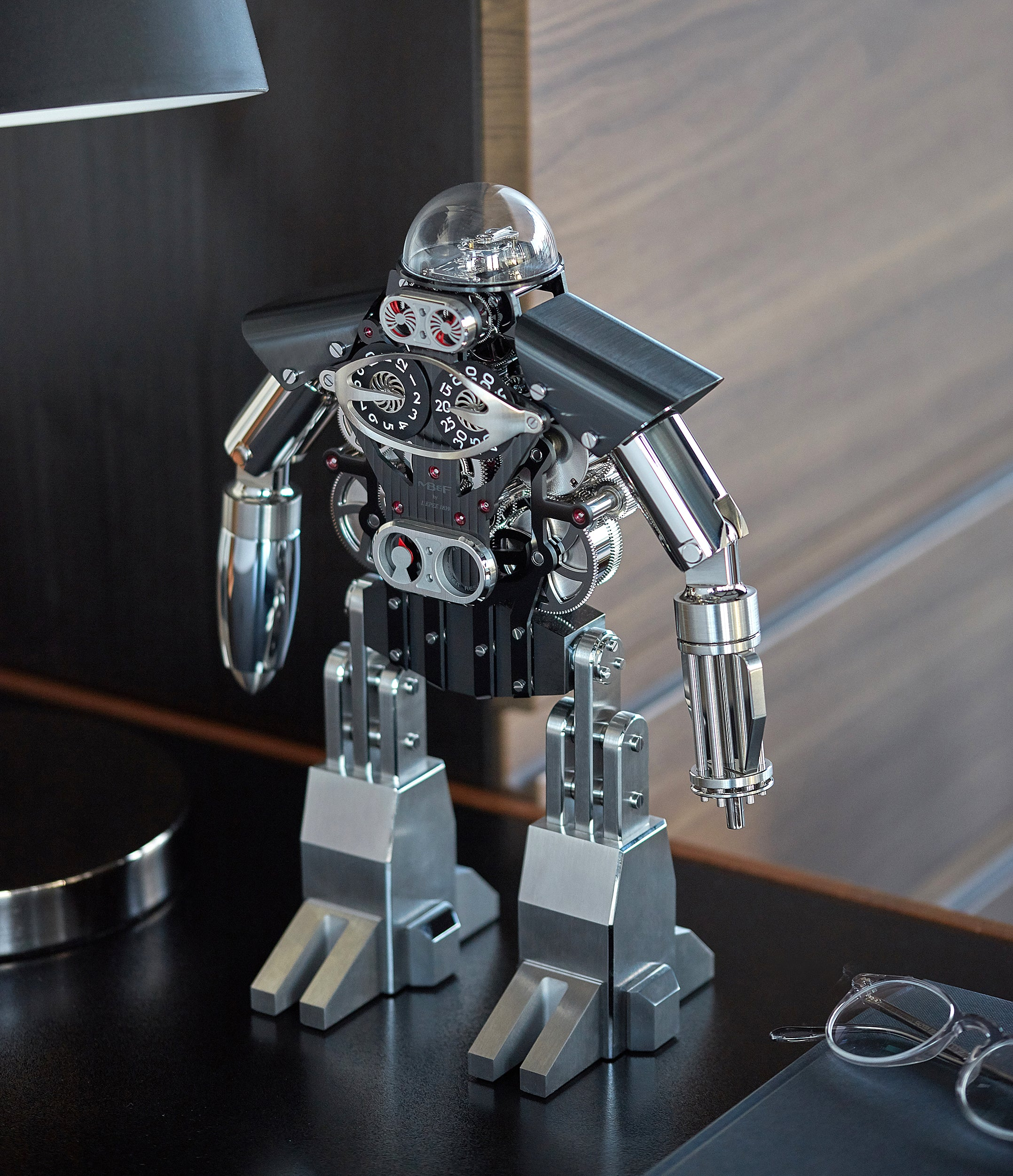 "Limited Edition MB&F Melchio L'Epee ""Dark"" roboclock robotic desk clock for sale online at A Collected Man London"