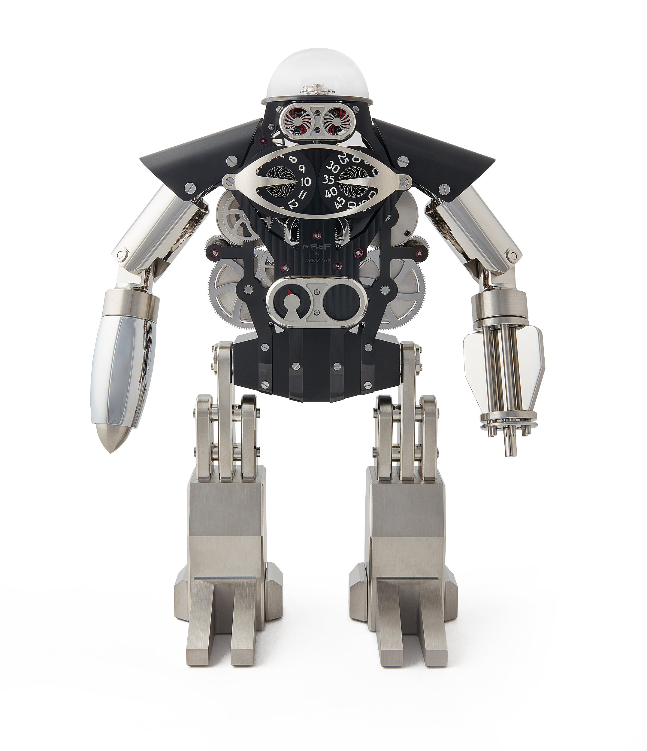 "buy MB&F Melchio L'Epee ""Dark"" roboclock robotic desk clock for sale online at A Collected Man London"