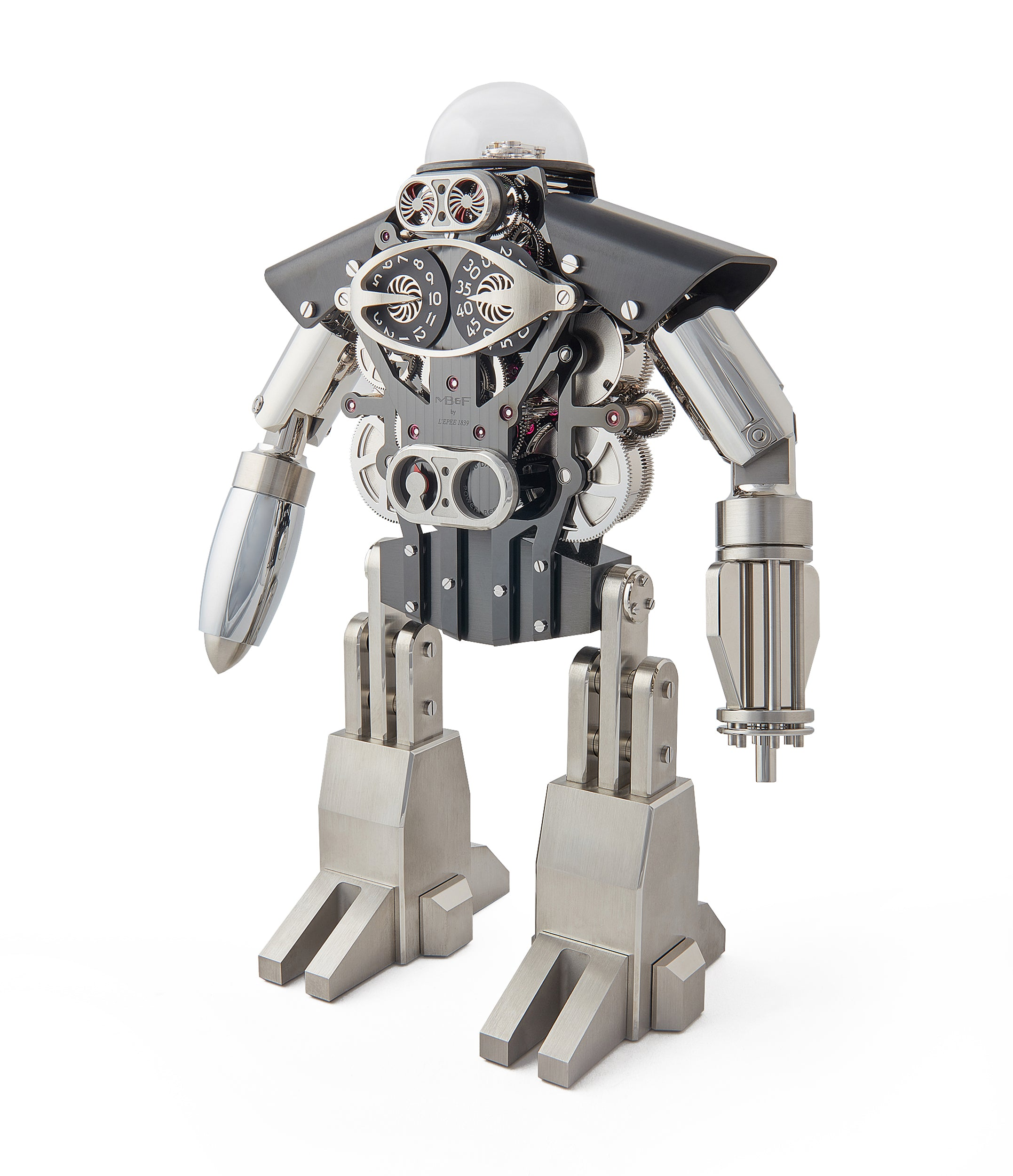 "MB&F Melchio L'Epee ""Dark"" roboclock robotic desk clock for sale online at A Collected Man London"