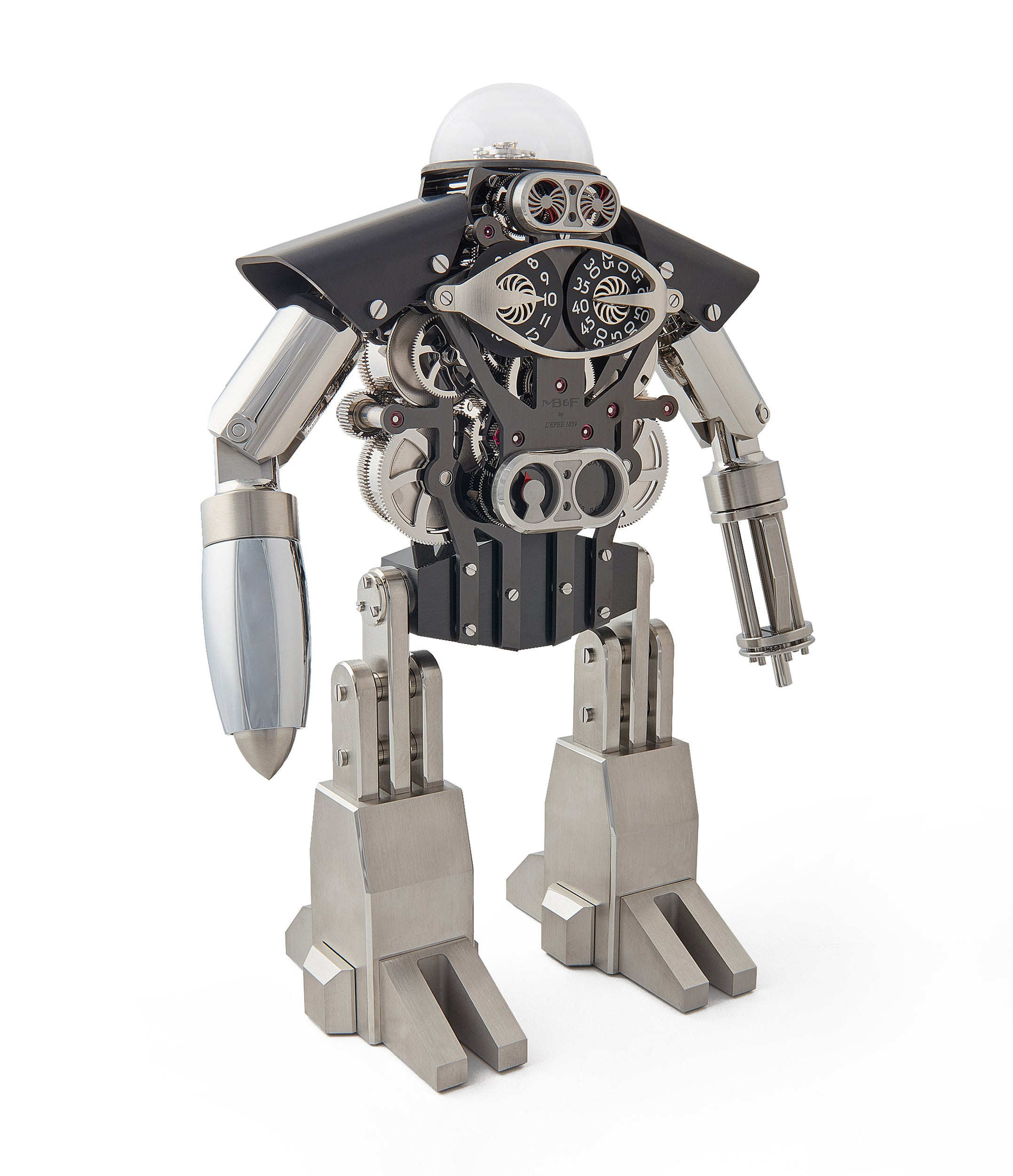 "robot clock MB&F Melchio L'Epee ""Dark"" roboclock robotic desk clock for sale online at A Collected Man London"