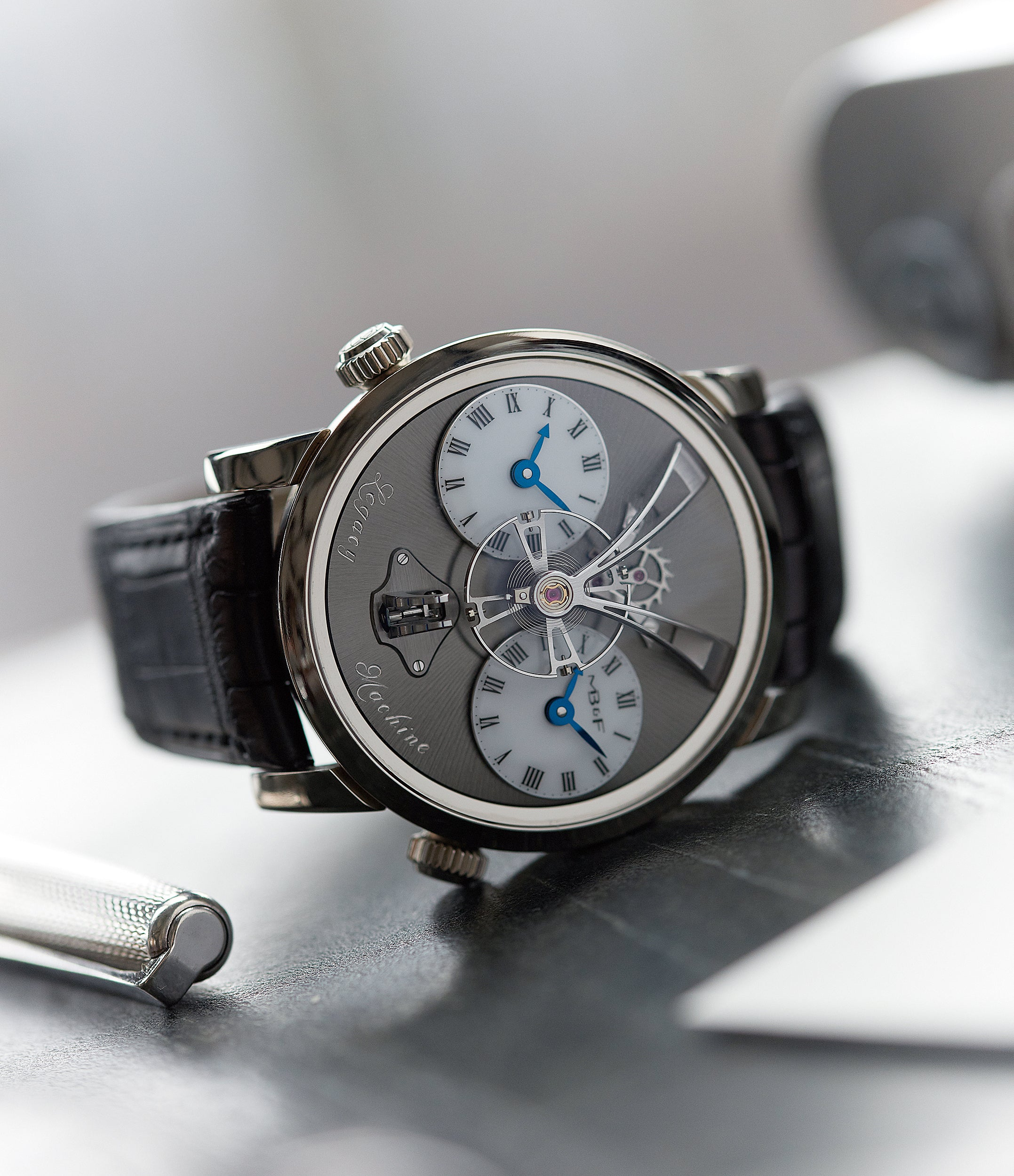 LM1 MB&F Legacy Machine white gold preowned dual time-zone watch for sale online at A Collected Man London UK specialist of rare independent watchmakers