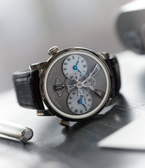 traveller dual time-zone MB&F LM1 Legacy Machine white gold preowned dual time-zone watch for sale online at A Collected Man London UK specialist of rare independent watchmakers