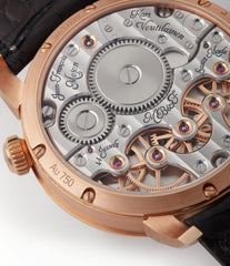 hand-finished MB&F Legacy Machine LM2 rose gold preowned double flying balance watch by independent watchmaker