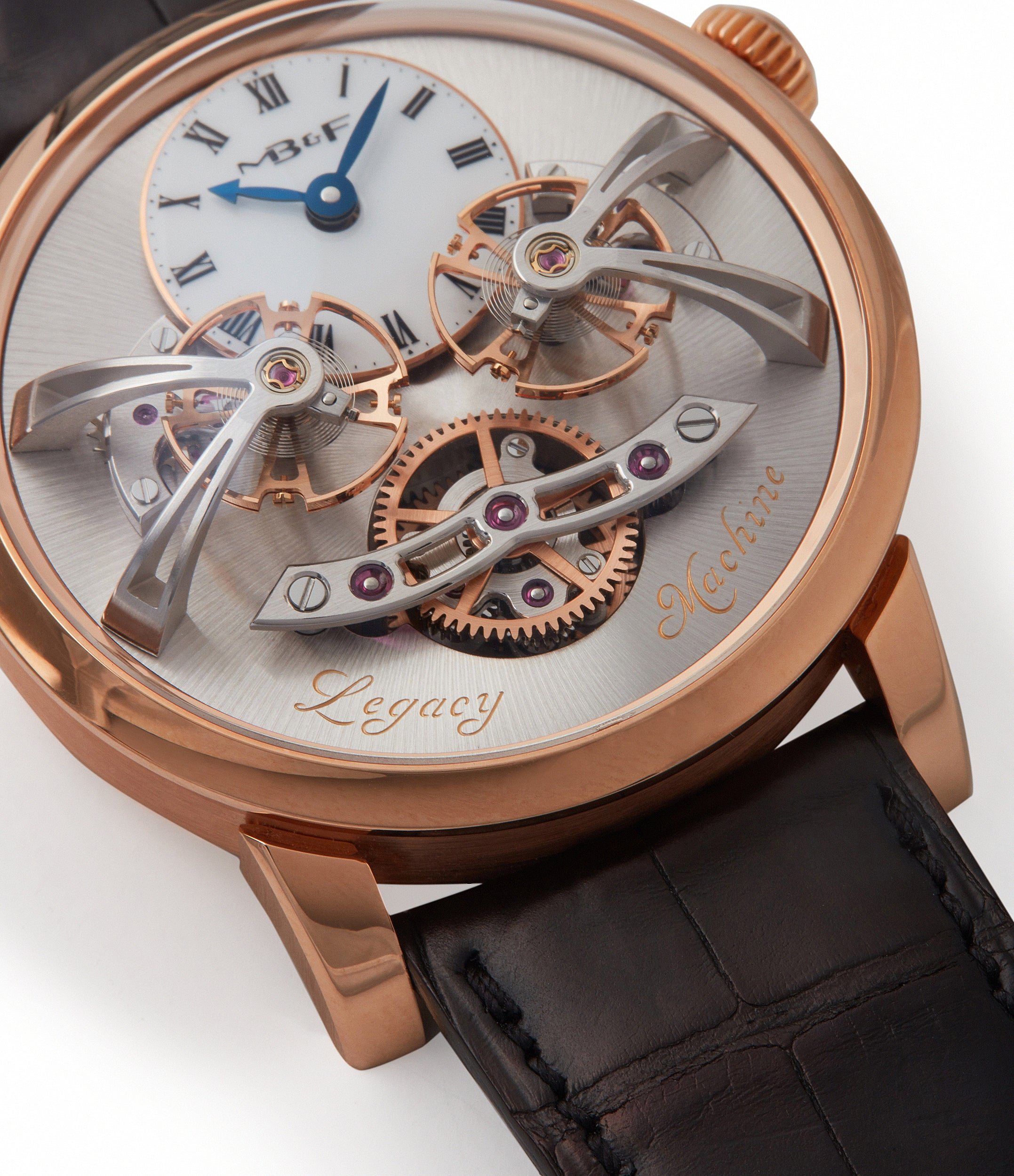 double flying balance MB&F Legacy Machine LM2 rose gold watch by independent watchmaker Max Busser Kari Voutilainen Mojon for sale at A Collected Man London UK specialist rare watches