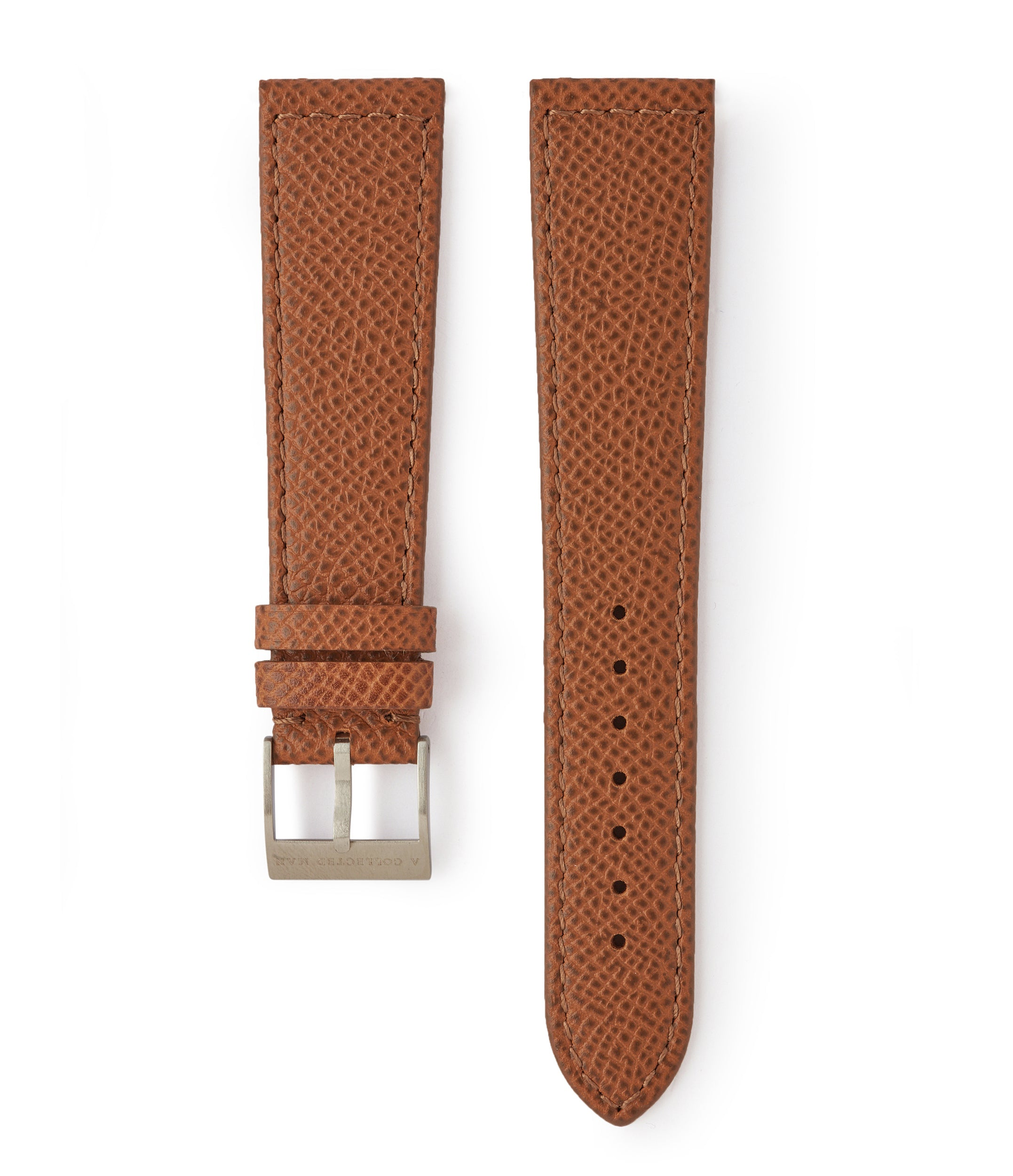 buy Marrakesh II Saffiano tan brown safari-textured leather 18mm watch strap with matching closed boxed stitching online A Collected Man London