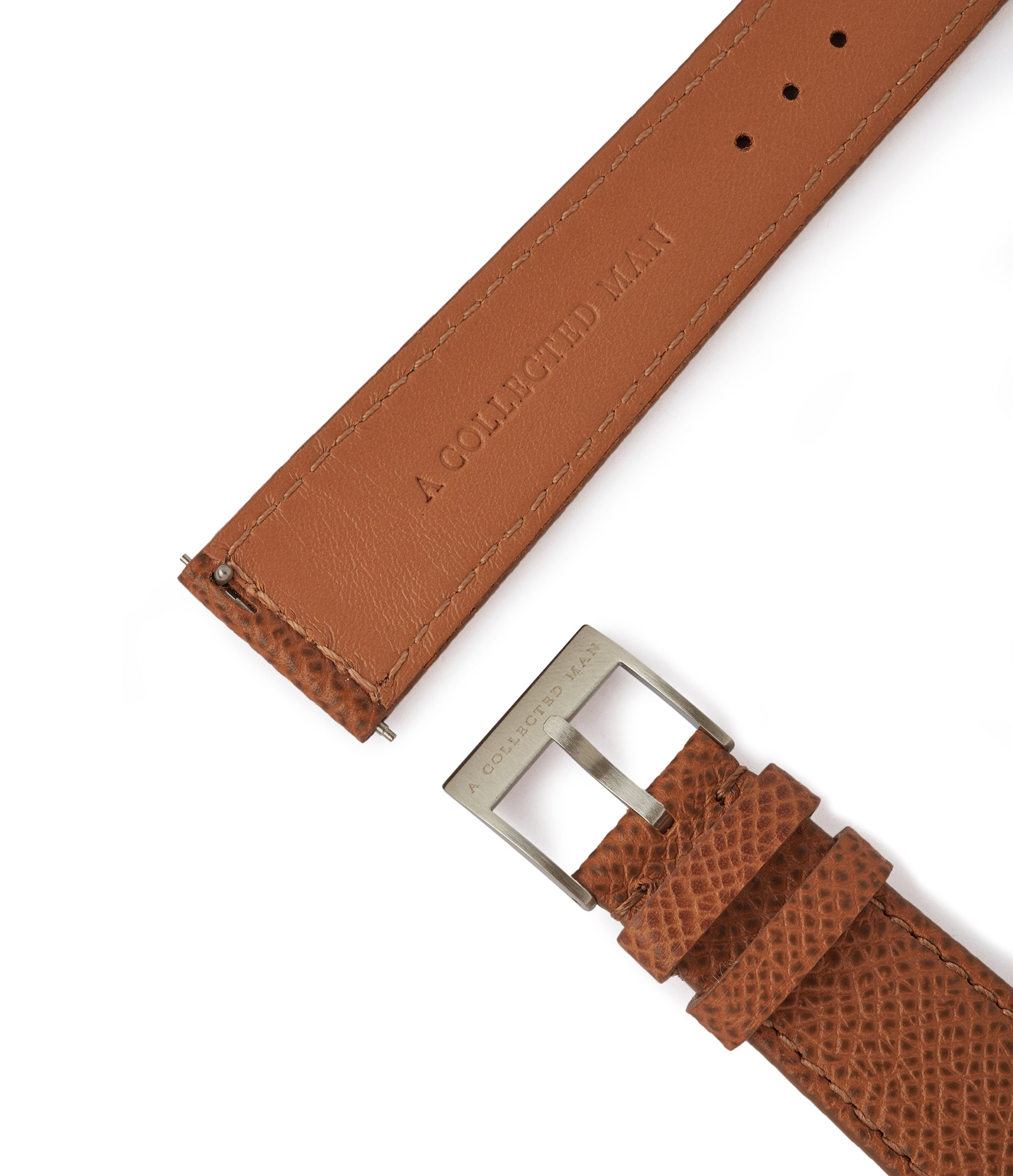 order Marrakesh II Saffiano tan brown safari-textured leather 20mm watch strap with matching closed boxed stitching online A Collected Man London