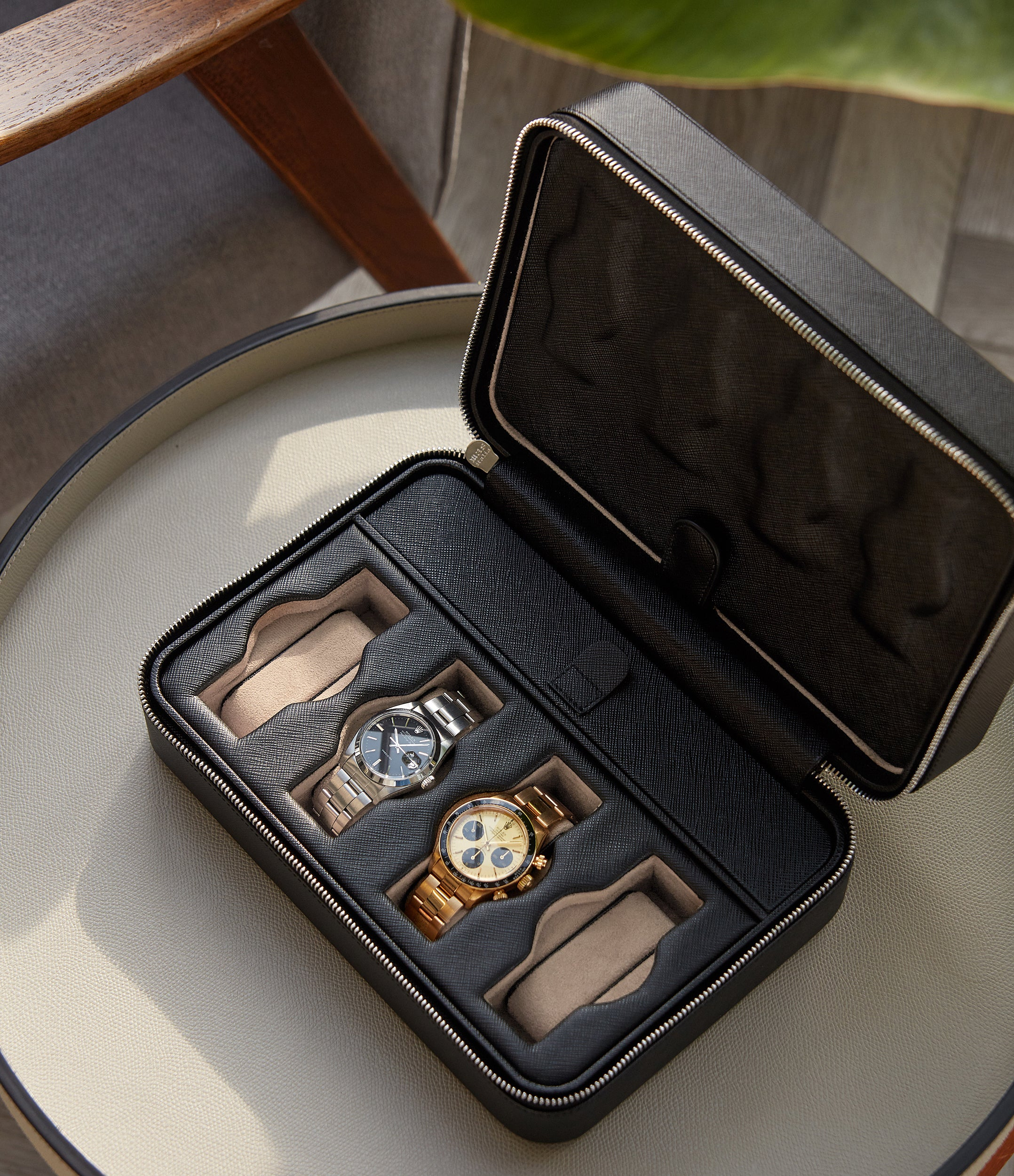 shop black Saffiano leather elegant luxury watch box 8 watches bracelet and on strap order online A Collected Man London