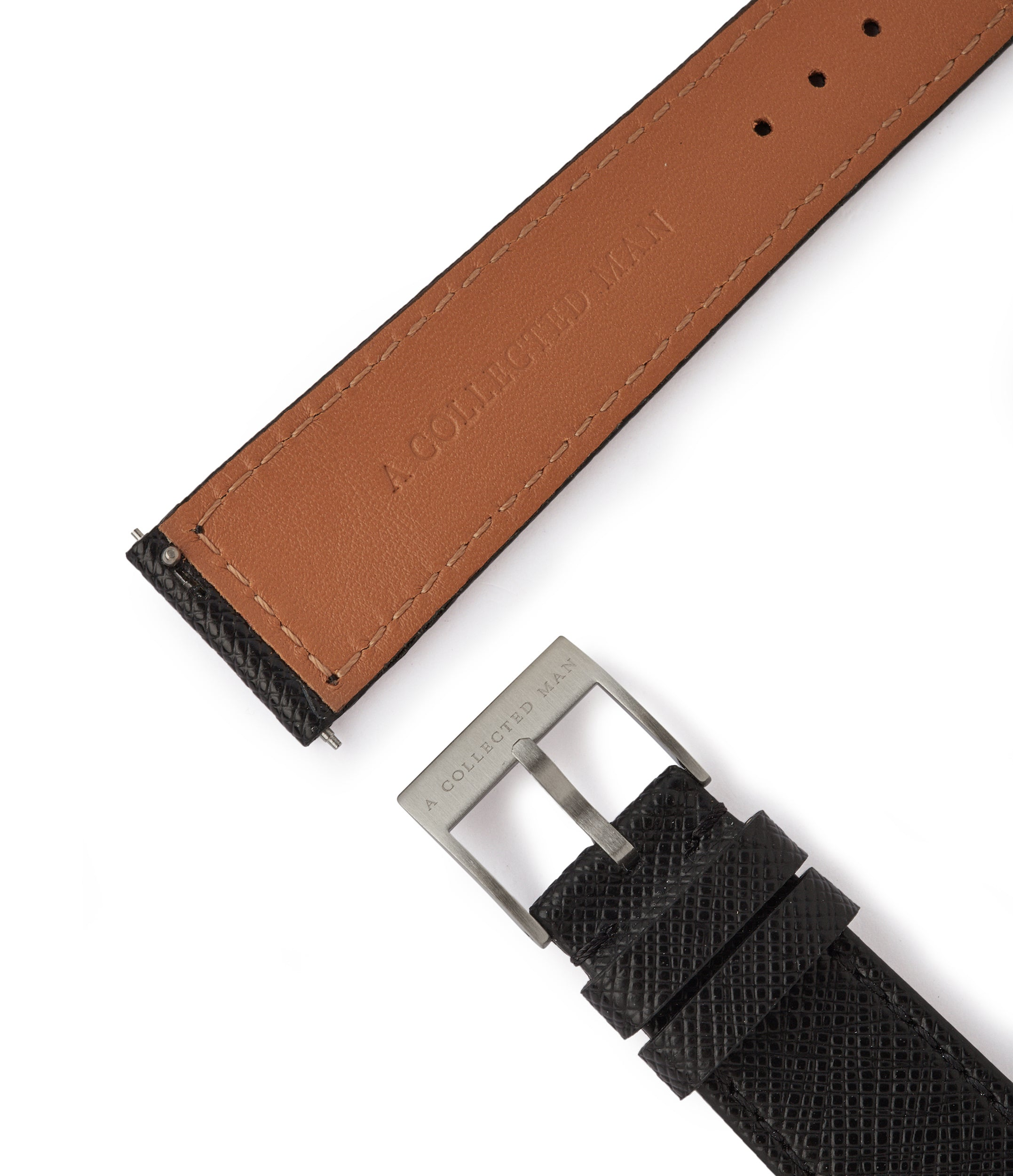 shop black Saffiano Milano cross-grained luxury leather 20mm watch strap with boxed stitching for sale online at A Collected Man London
