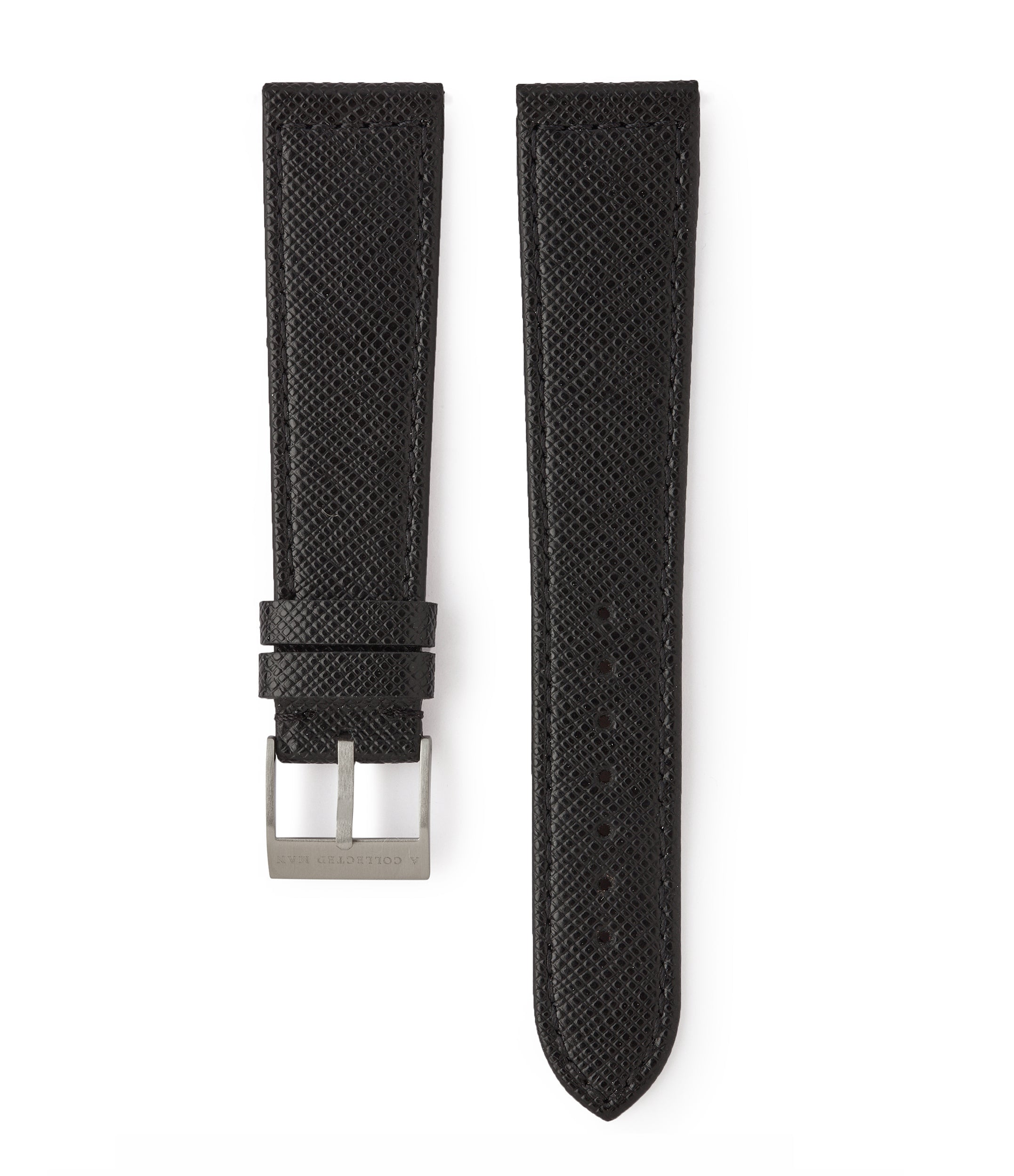 buy black Saffiano Milano cross-grained luxury leather 18mm watch strap with boxed stitching for sale online at A Collected Man London