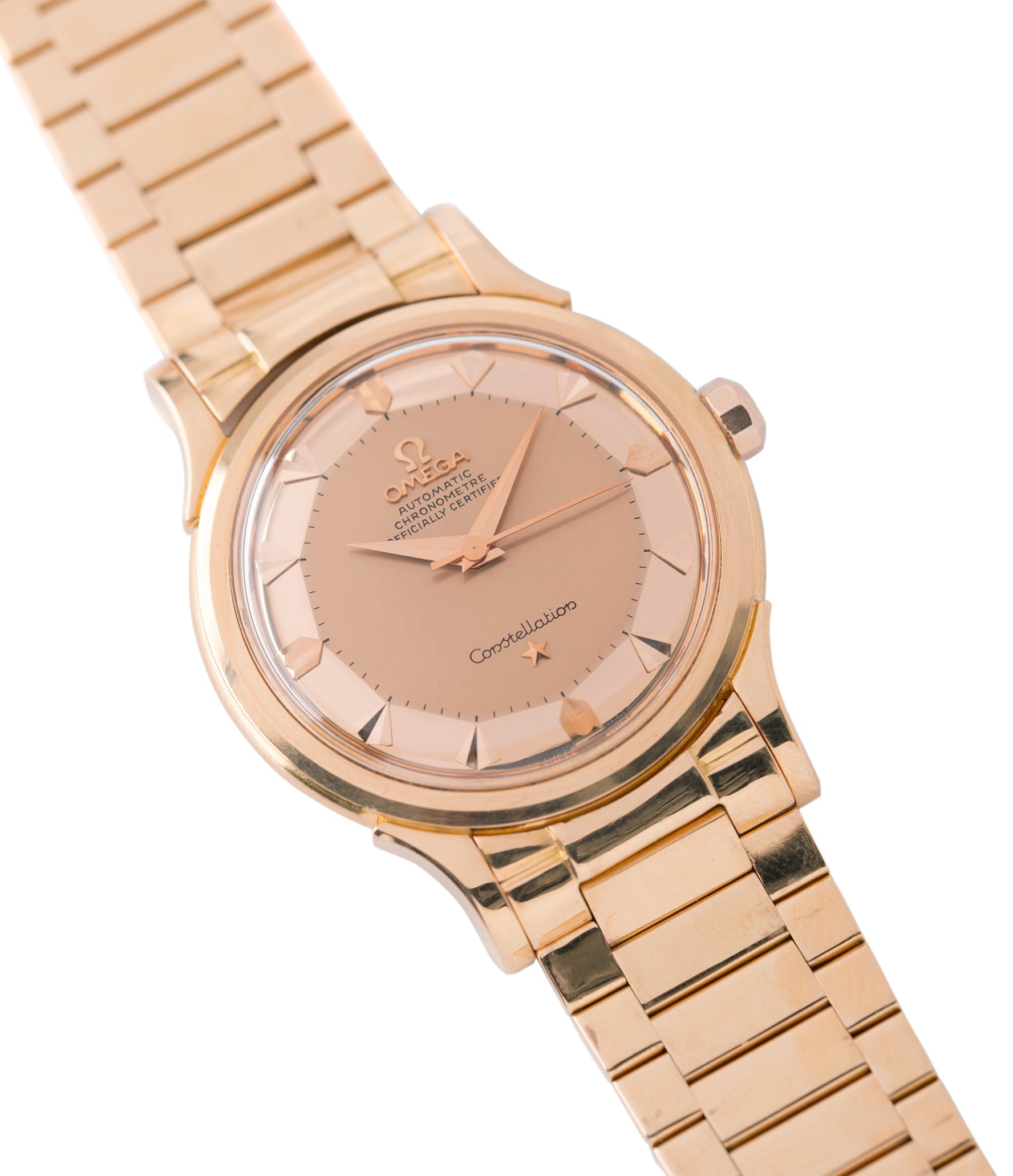 buying vintage Omega Constellation De Luxe 2799 yellow gold rare dress watch for sale online at A Collected Man London UK specialist of rare vintage watches