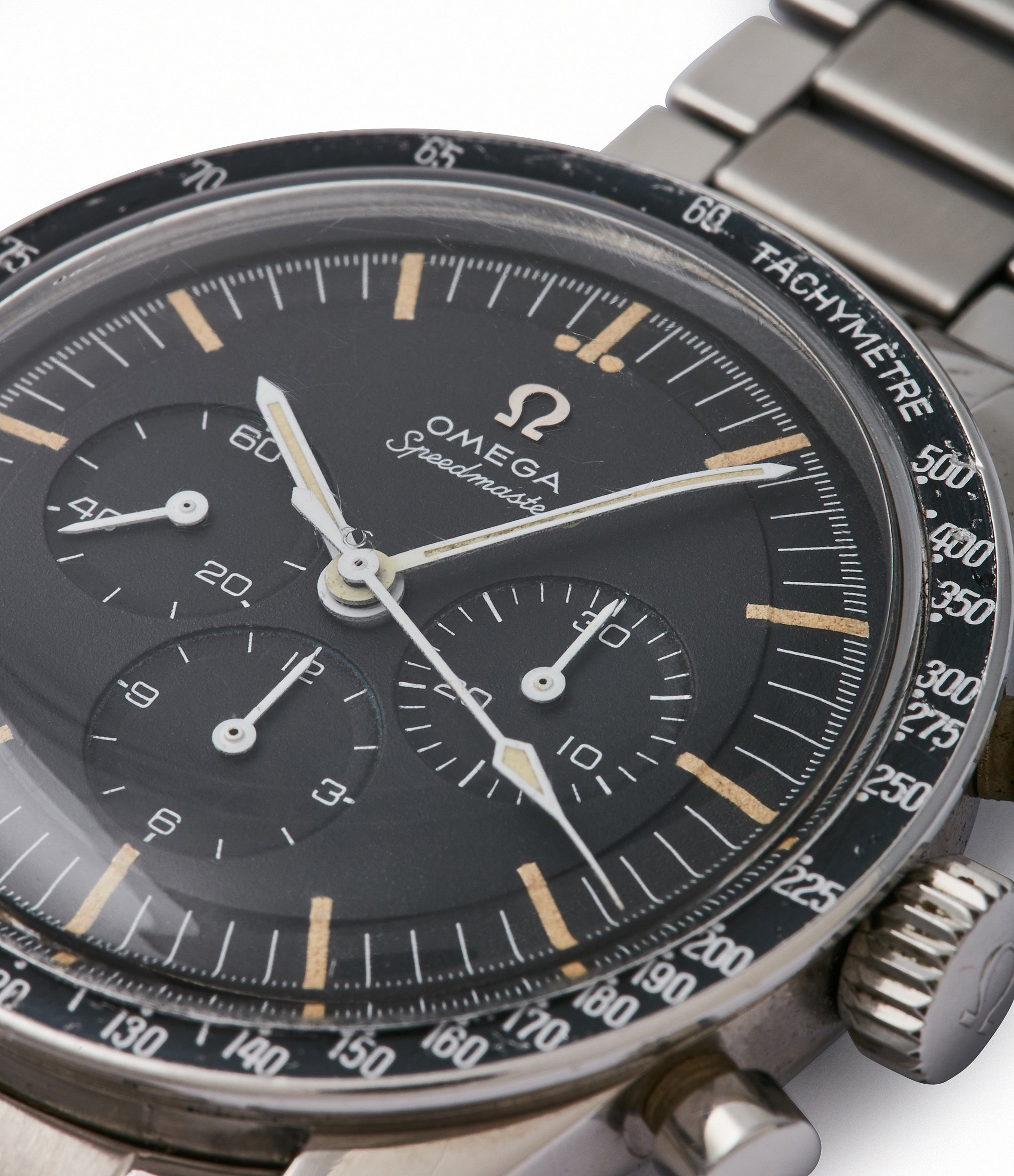 tachymeter bezel chronograph Speedmaster pre-professional Ed White Omega 105.003-65 steel chronograph sports watch online at A Collected Man London