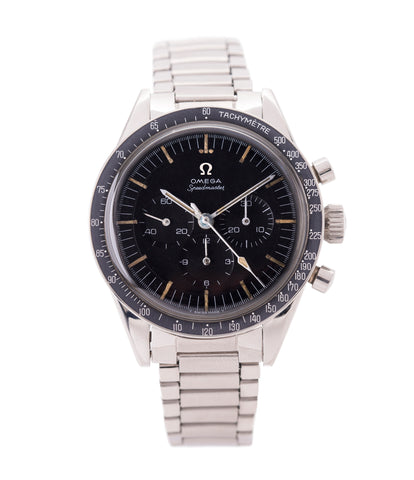 buy vintage Omega Speedmaster Pre-Professional Ed White 105003 steel vintage chronograph 7912 flat-link bracelet for sale online at A Collected Man UK specialist of rare vintage watches