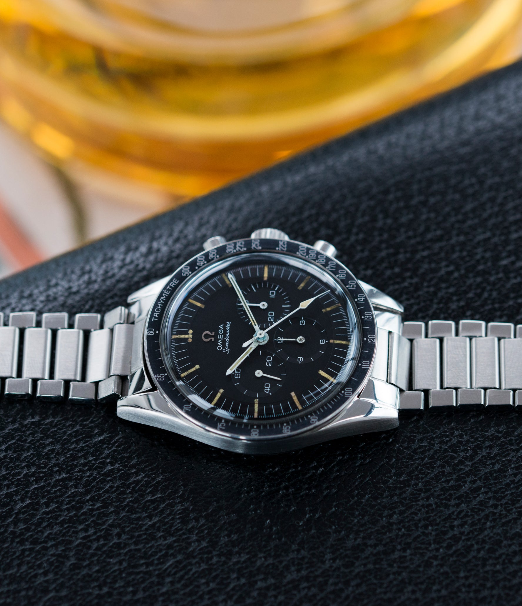 sell Omega Speedmaster Pre-Professional Ed White 105003 steel vintage chronograph 7912 flat-link bracelet for sale online at A Collected Man UK specialist of rare vintage watches