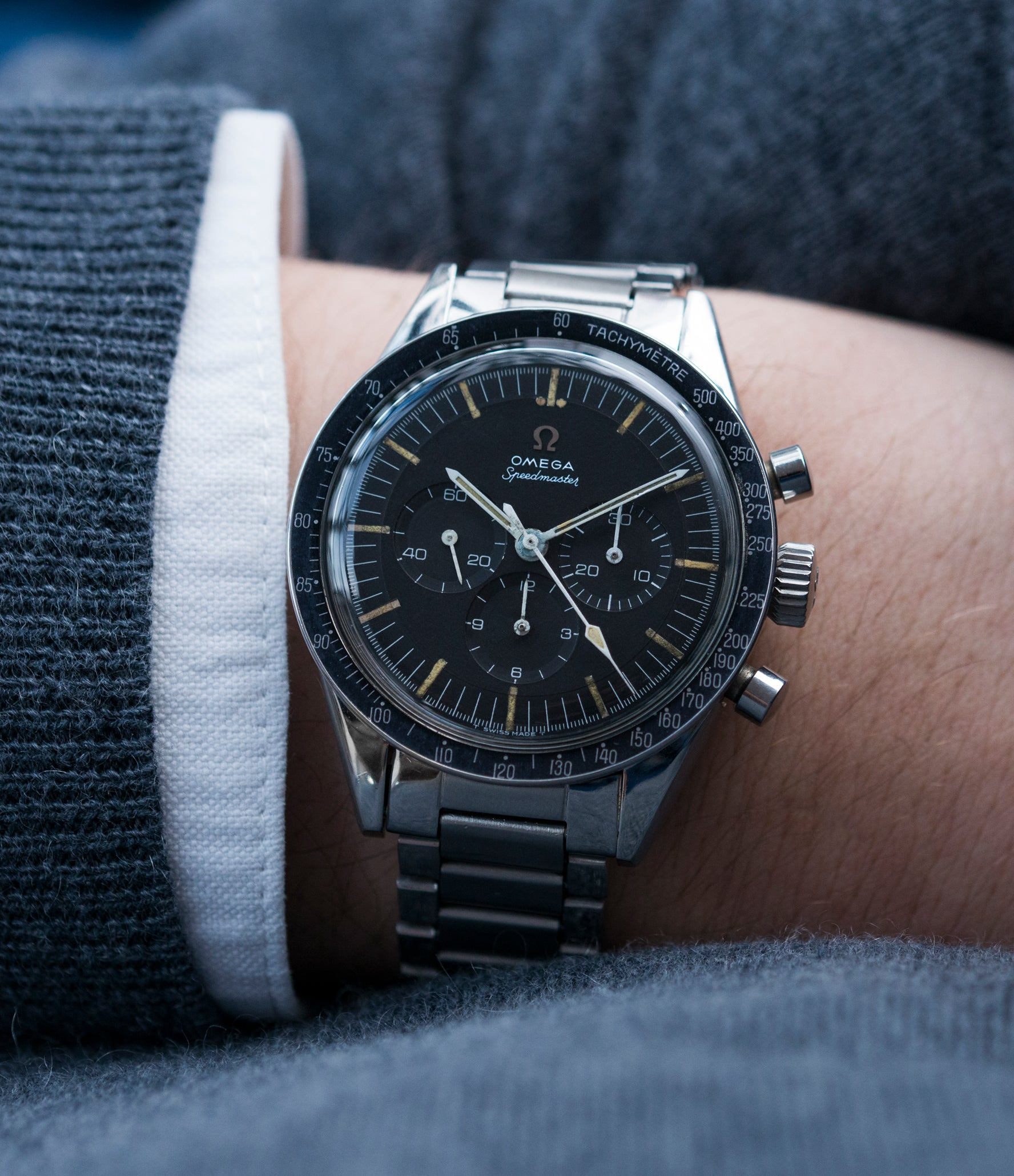 Speedmaster 105.003 Pre-Professional Ed White Omega  steel vintage chronograph 7912 flat-link bracelet for sale online at A Collected Man UK specialist of rare vintage watches