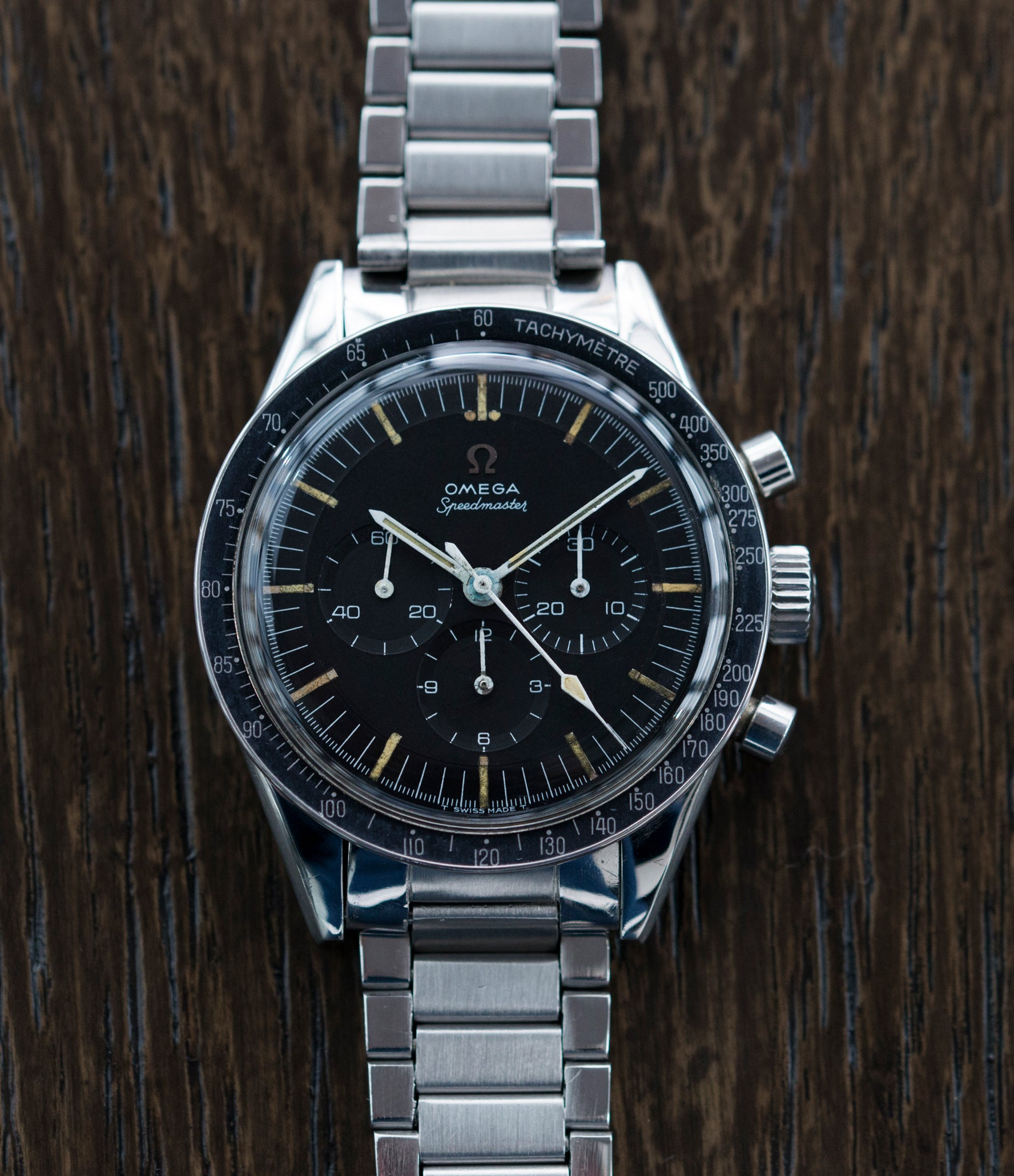 buying vintage Omega Speedmaster Pre-Professional Ed White 105003 steel vintage chronograph 7912 flat-link bracelet for sale online at A Collected Man UK specialist of rare vintage watches