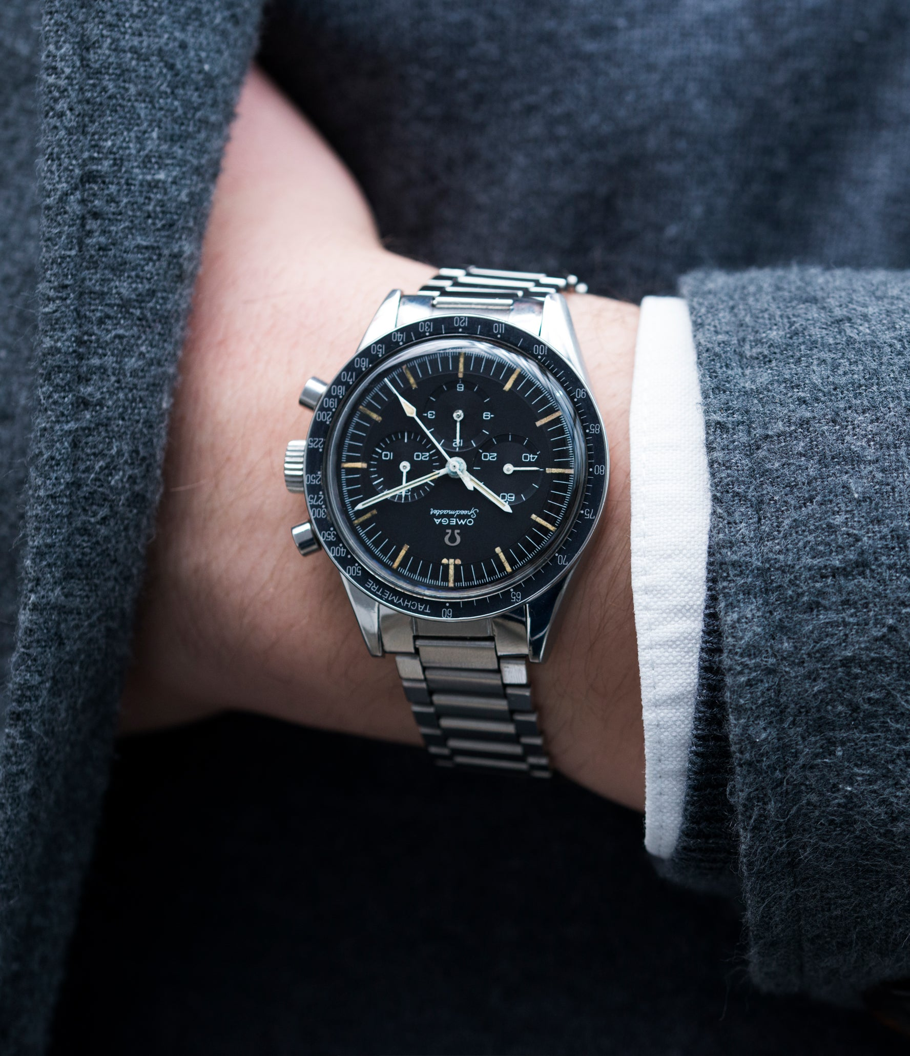 men's cool vintage watch Omega chronograph Speedmaster Pre-Professional Ed White 105.003 steel vintage chronograph 7912 flat-link bracelet for sale online at A Collected Man UK specialist of rare vintage watches