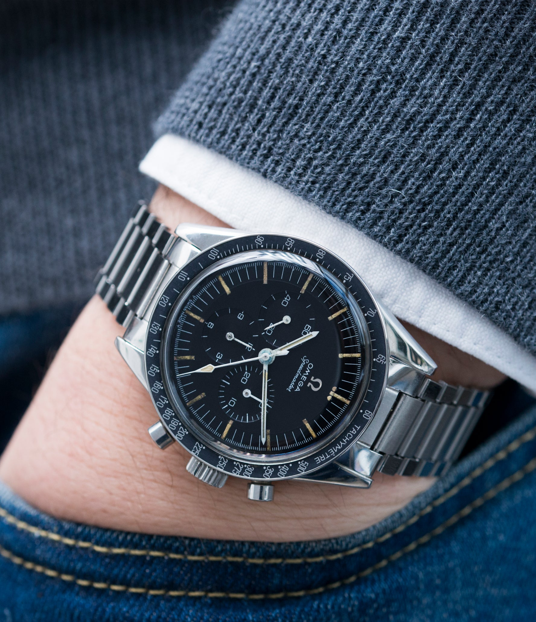 vintage chronograph Speedmaster 105.003 Pre-Professional Ed White Omega steel 7912 flat-link bracelet for sale online at A Collected Man UK specialist of rare vintage watches