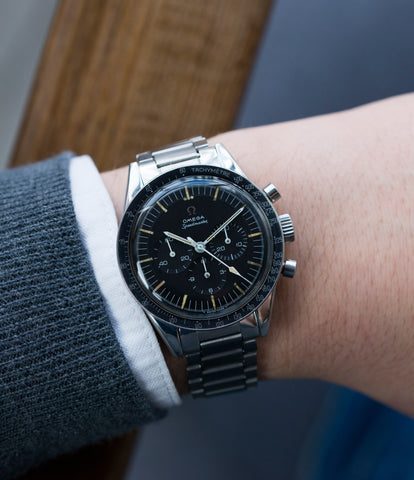 on the wrist Omega Speedmaster Pre-Professional Ed White 105003 steel vintage chronograph 7912 flat-link bracelet for sale online at A Collected Man UK specialist of rare vintage watches
